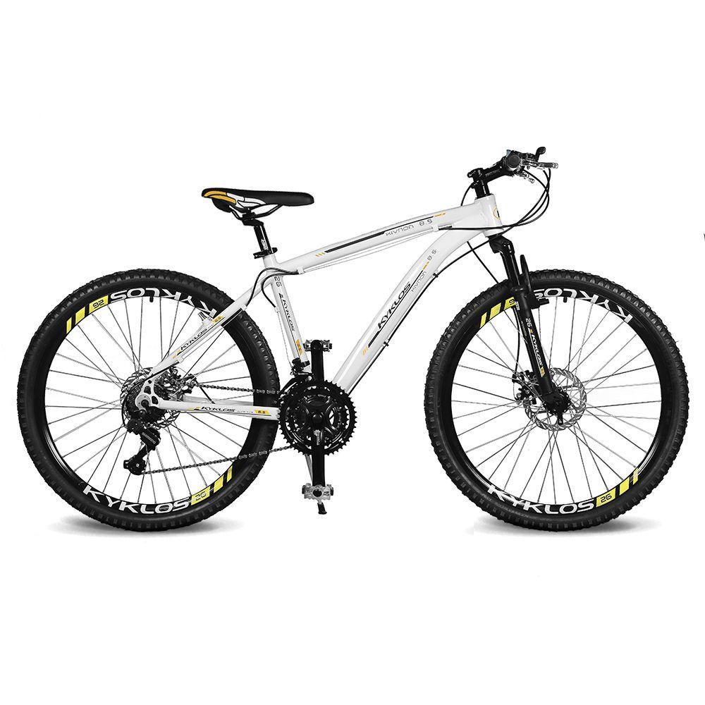 Bicicleta Kyklos Aro 26 Kivnon 8.5 Freio a Disco A-36 21V Branco/Laranja