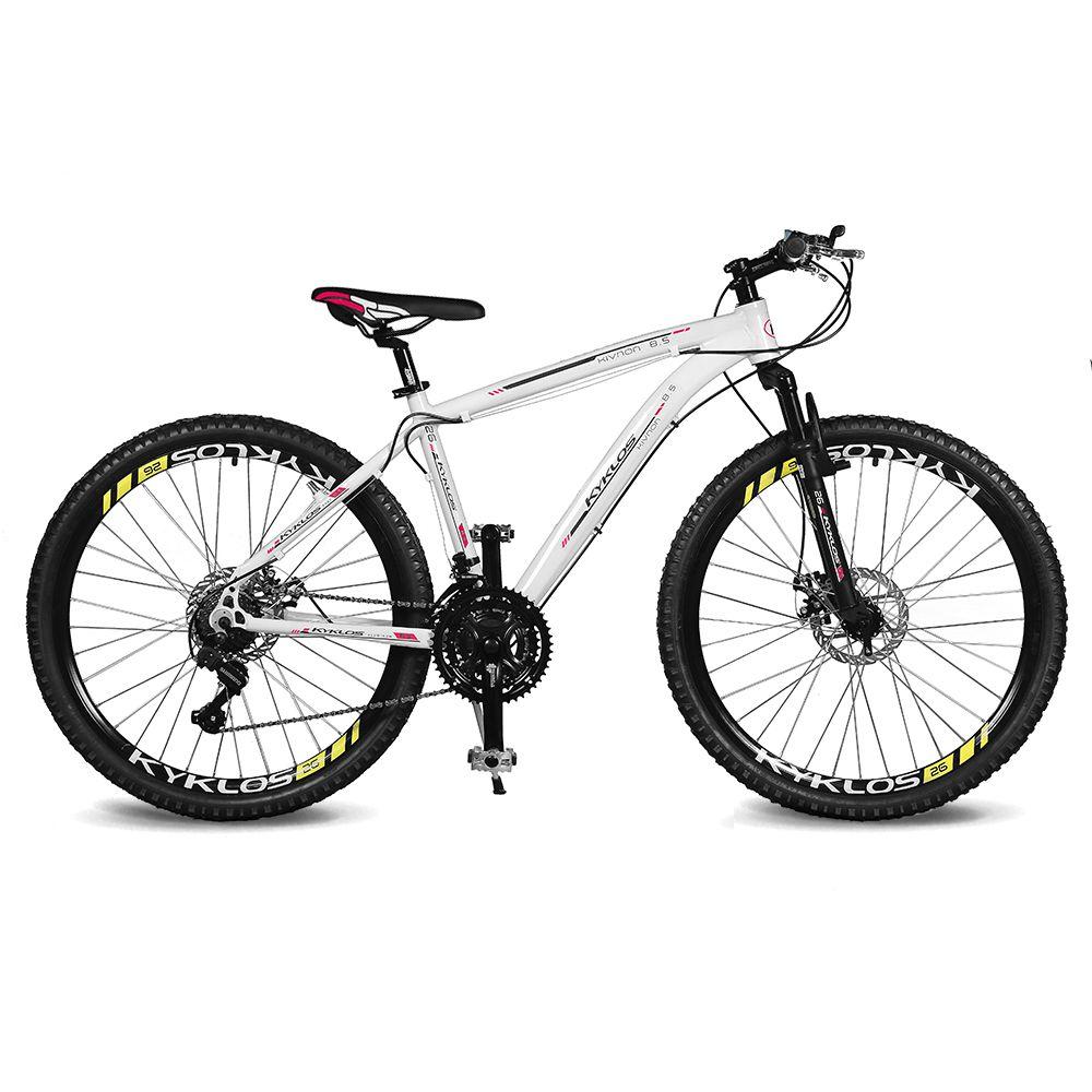 Bicicleta Kyklos Aro 26 Kivnon 8.5 Freio a Disco A-36 21V Branco/Vermelho