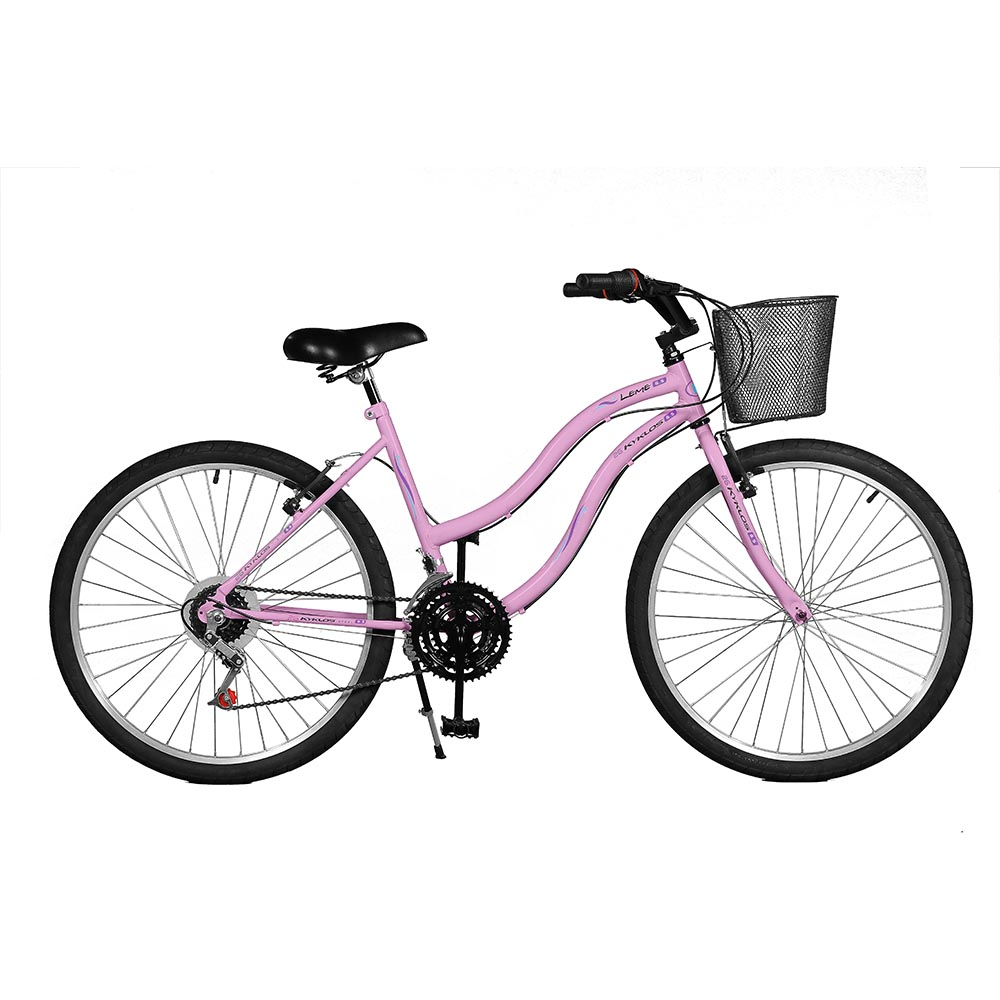 Bicicleta Kyklos Aro 26 Leme 6.5 Freio Manual com Cesta 21V Rosa