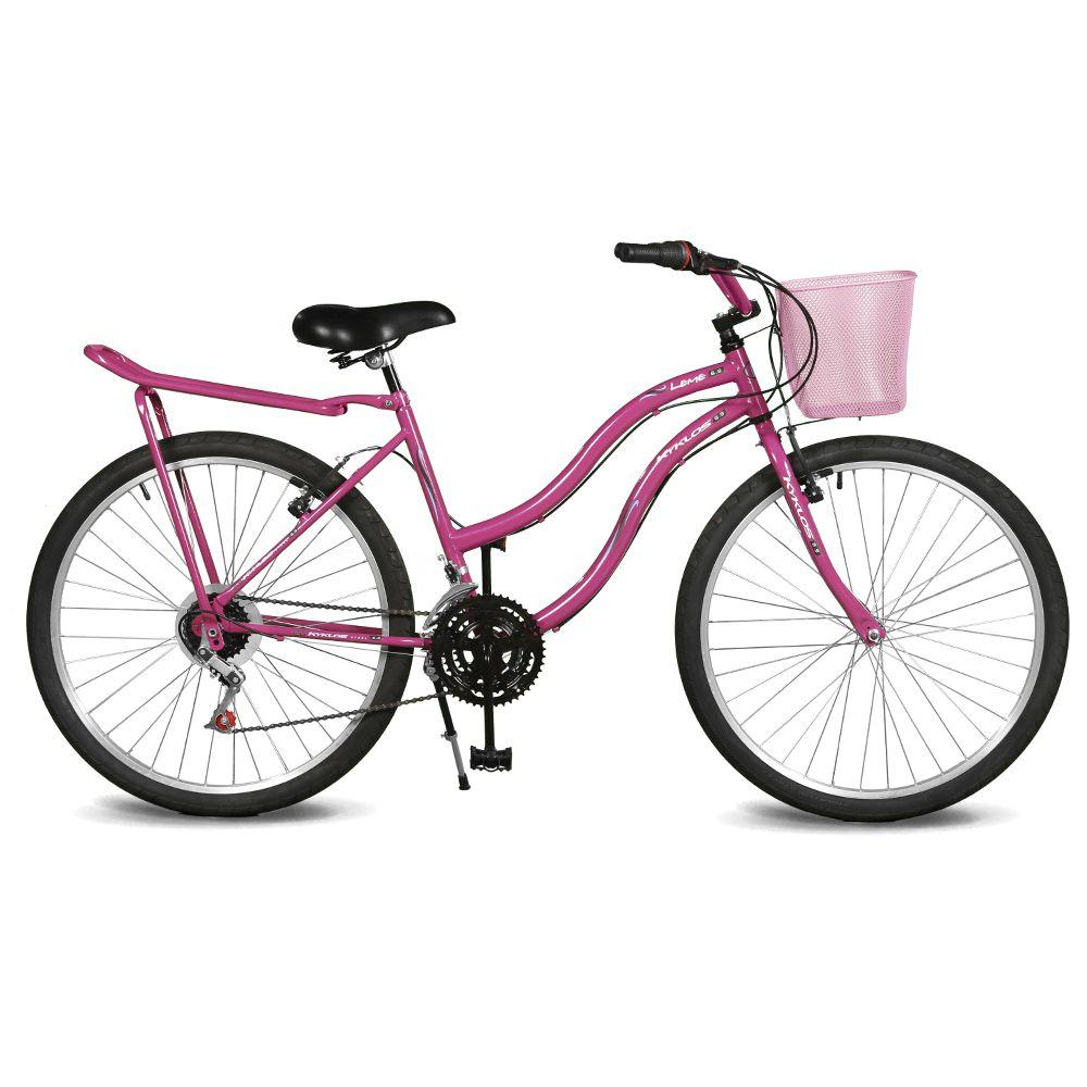 Bicicleta Kyklos Aro 26 Leme 6.9 Freio Manual com Cesta e Bagageiro 21V Pink