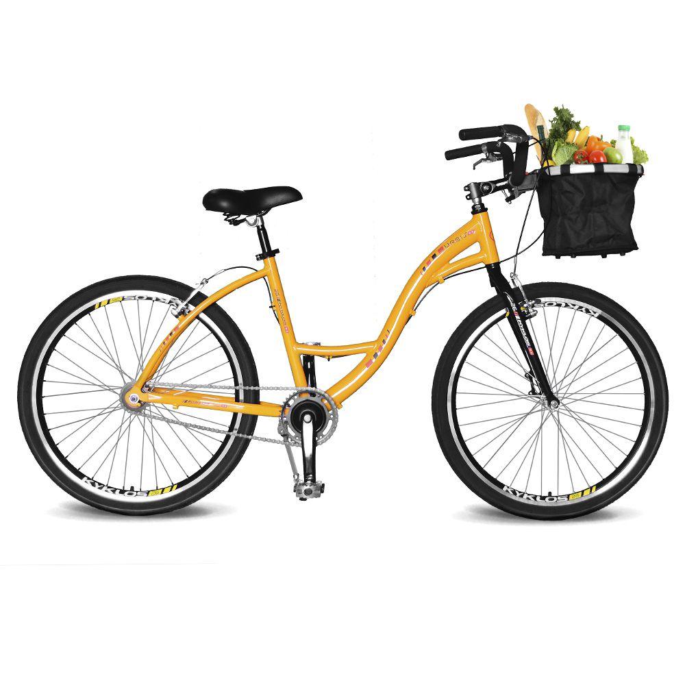 Bicicleta Kyklos Aro 26 Urbis 8.2 V-Brake Sem Marcha com Cesta Amarelo