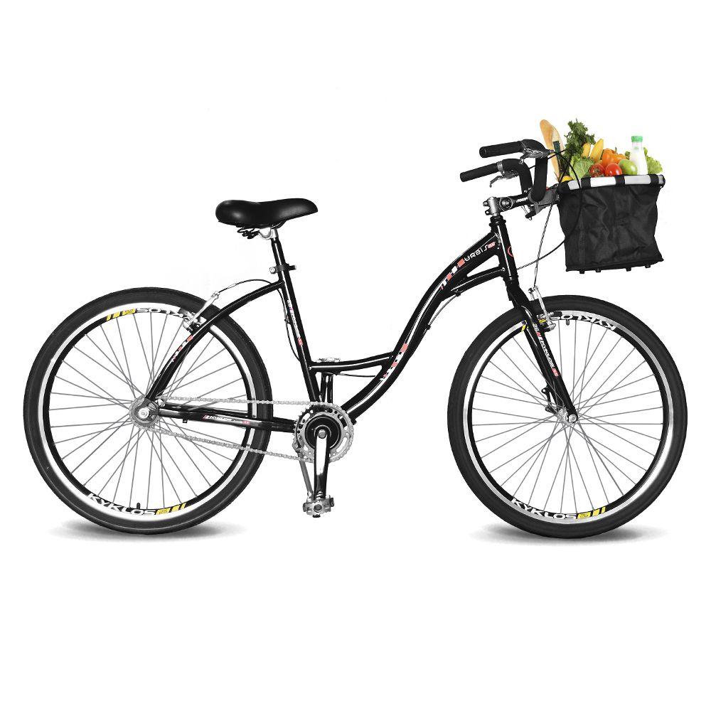 Bicicleta Kyklos Aro 26 Urbis 8.2 V-Brake Sem Marcha com Cesta Preto