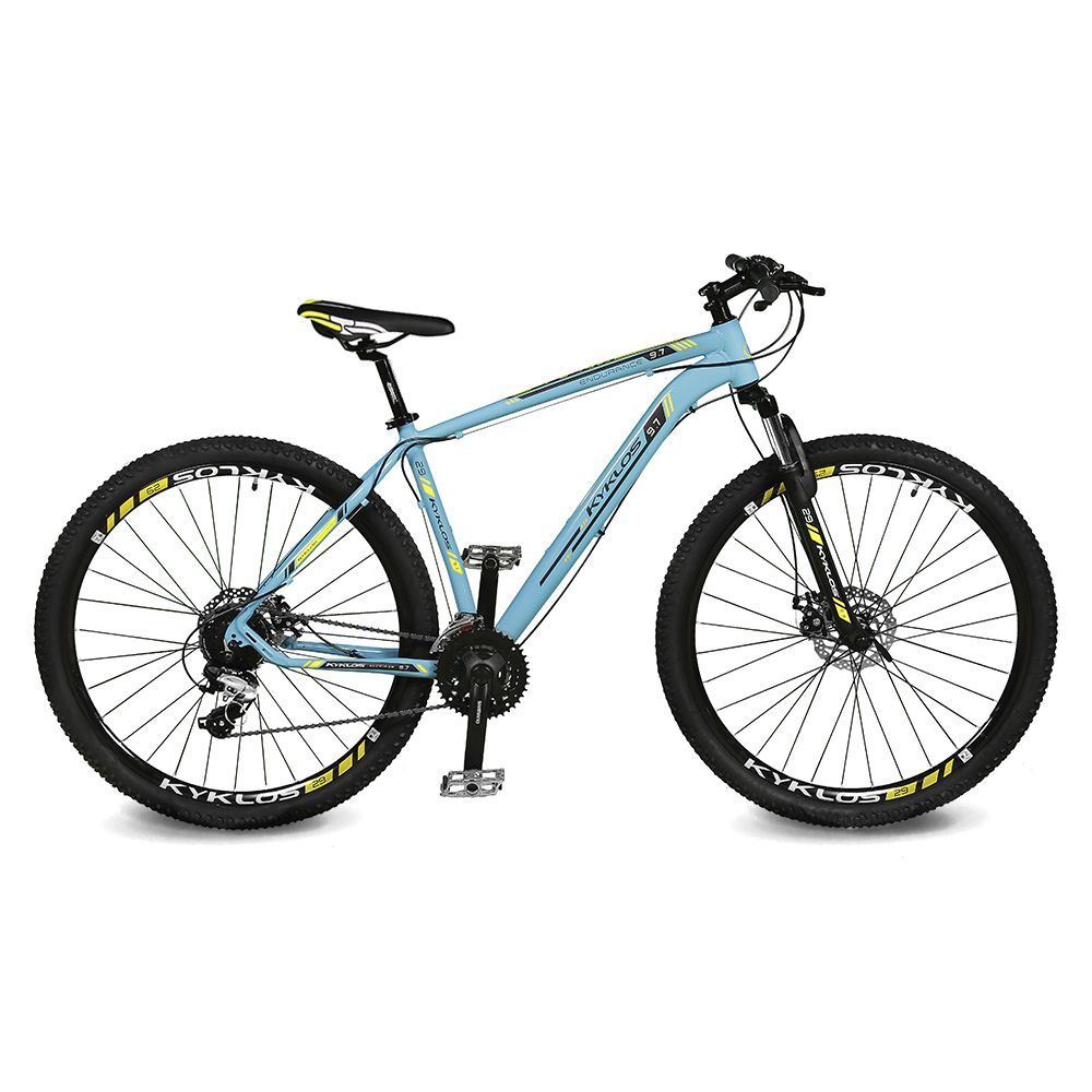 Bicicleta Kyklos Aro 29 Endurance 9.7 24V Freio a Disco com Suspensão A-36 Azul/Amarelo