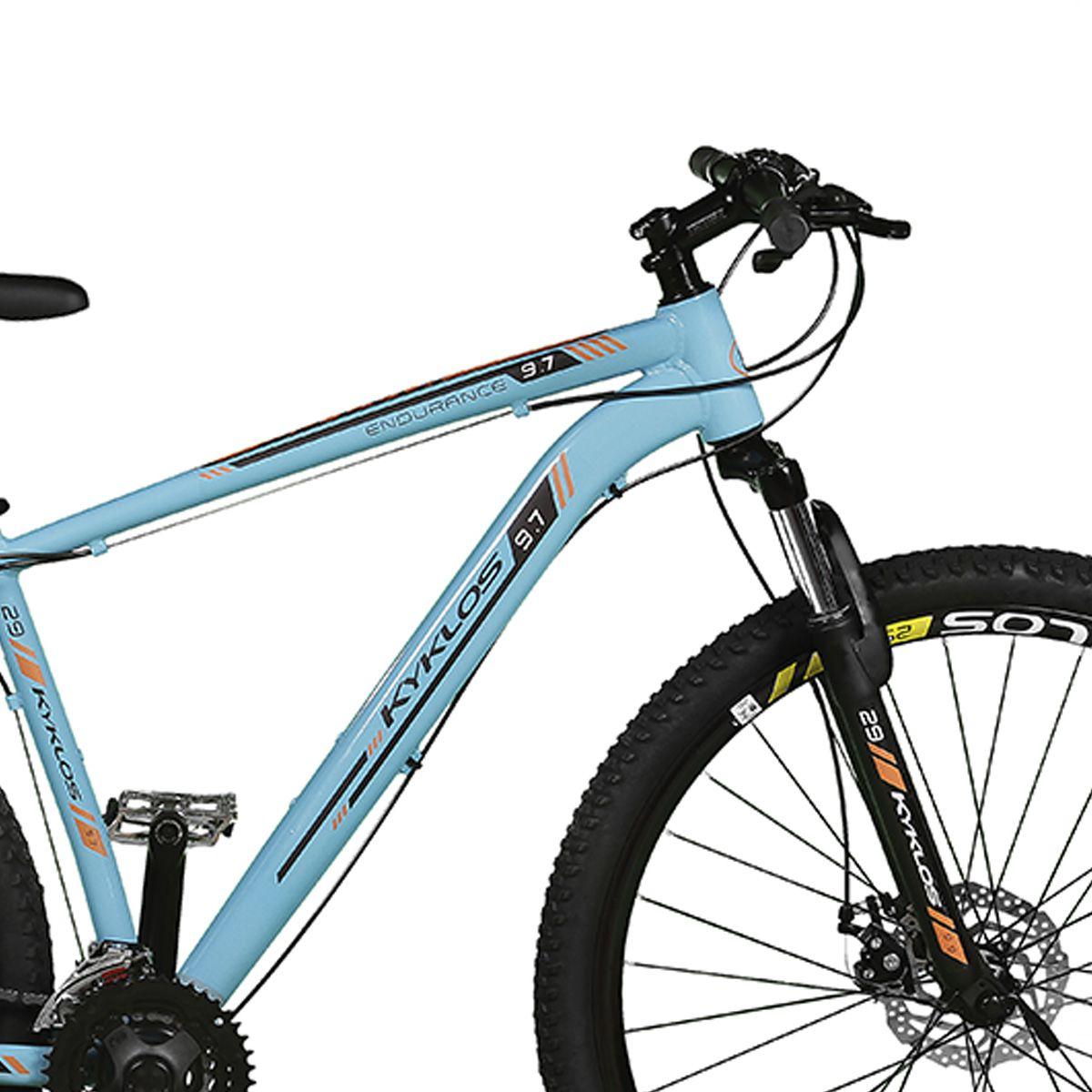 Bicicleta Kyklos Aro 29 Endurance 9.7 24V Freio a Disco com Suspensão A-36 Azul/Laranja