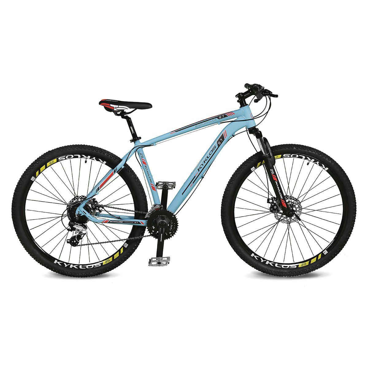 Bicicleta Kyklos Aro 29 Endurance 9.7 24V Freio a Disco com Suspensão A-36 Azul/Vermelho