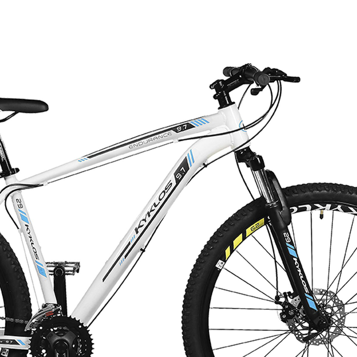 Bicicleta Kyklos Aro 29 Endurance 9.7 24V Freio a Disco com Suspensão A-36 Branco/Azul