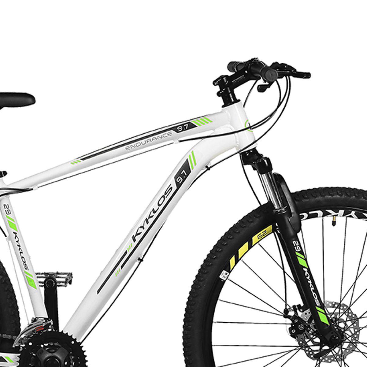 Bicicleta Kyklos Aro 29 Endurance 9.7 24V Freio a Disco com Suspensão A-36 Branco/Verde