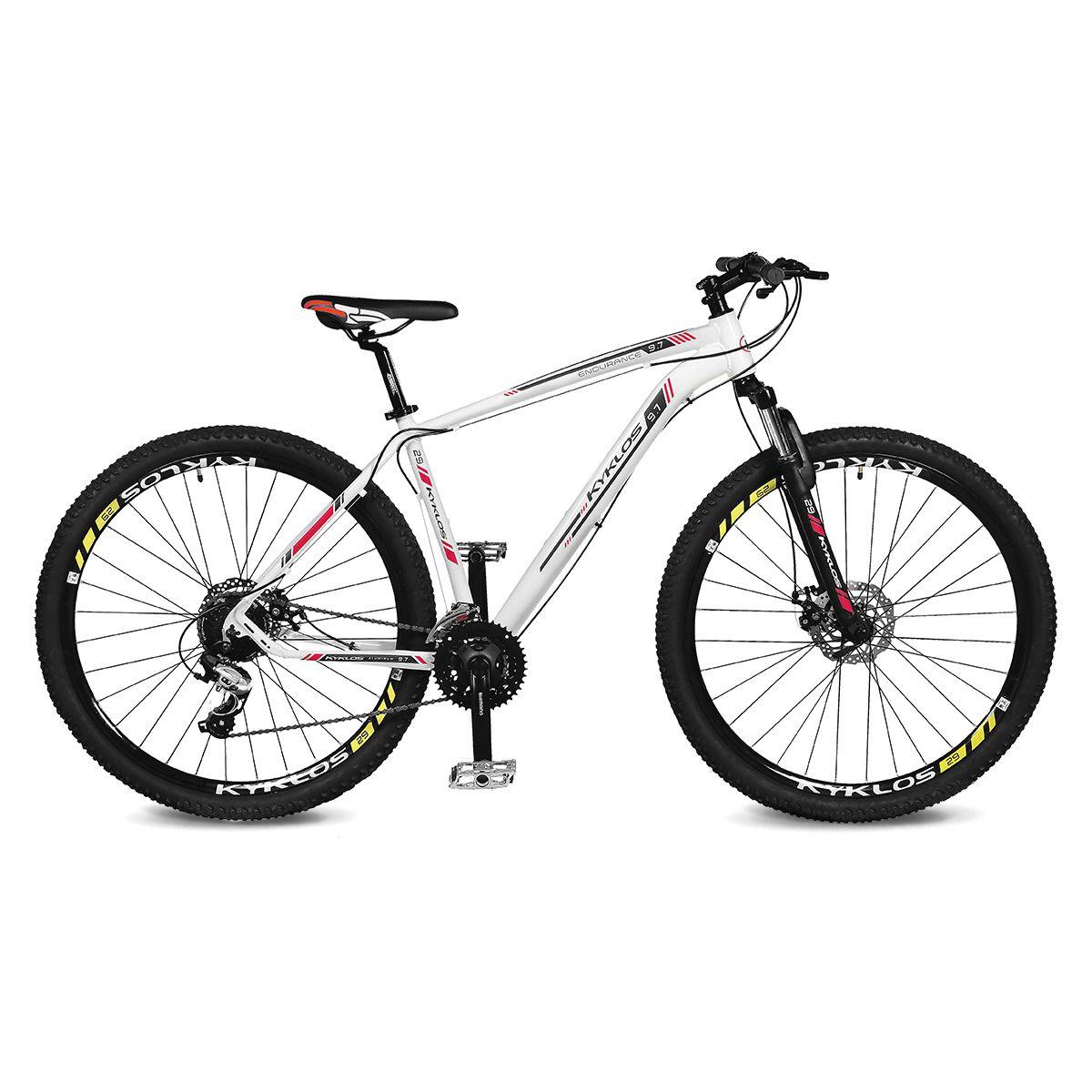Bicicleta Kyklos Aro 29 Endurance 9.7 24V Freio a Disco com Suspensão A-36 Branco/Vermelho