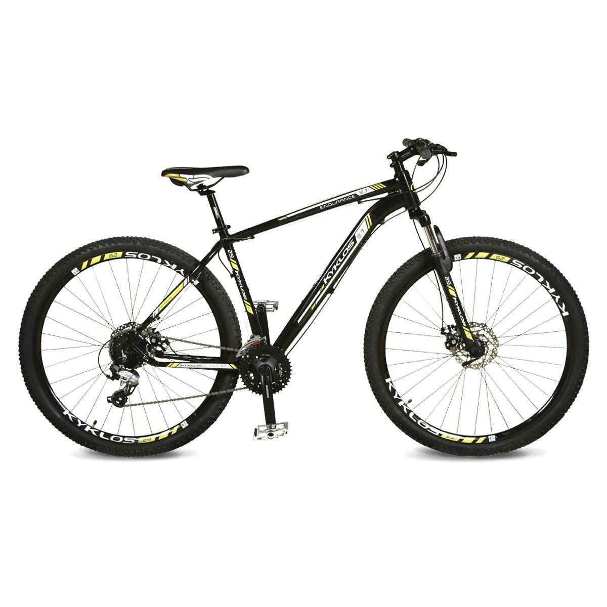 Bicicleta Kyklos Aro 29 Endurance 9.7 24V Freio a Disco com Suspensão A-36 Preto/Amarelo
