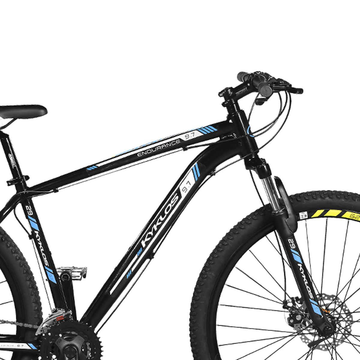 Bicicleta Kyklos Aro 29 Endurance 9.7 24V Freio a Disco com Suspensão A-36 Preto/Azul