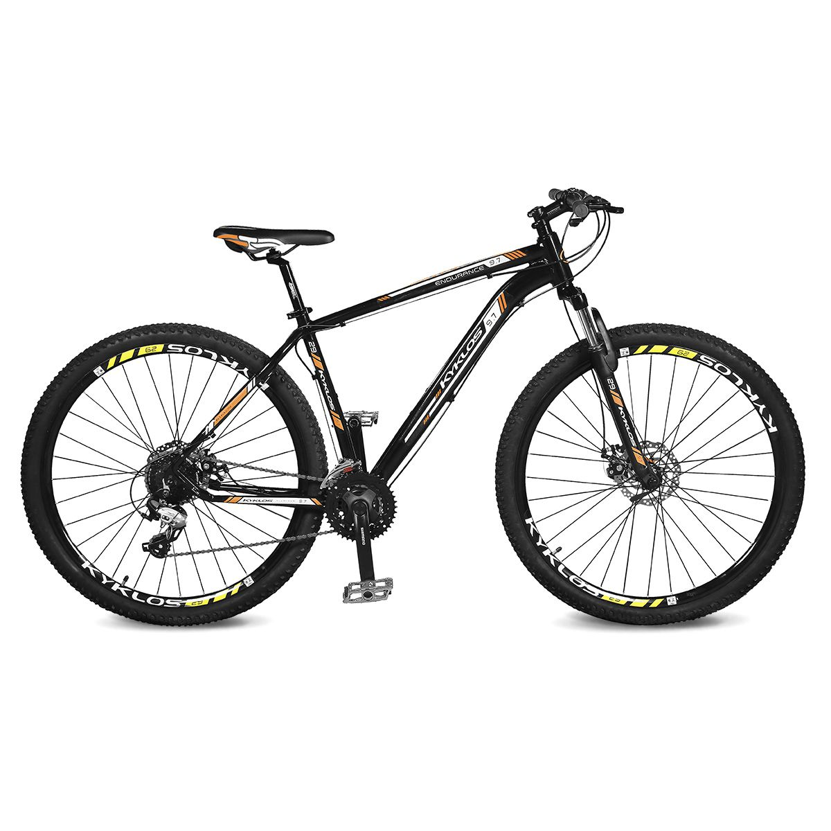 Bicicleta Kyklos Aro 29 Endurance 9.7 24V Freio a Disco com Suspensão A-36 Preto/Laranja
