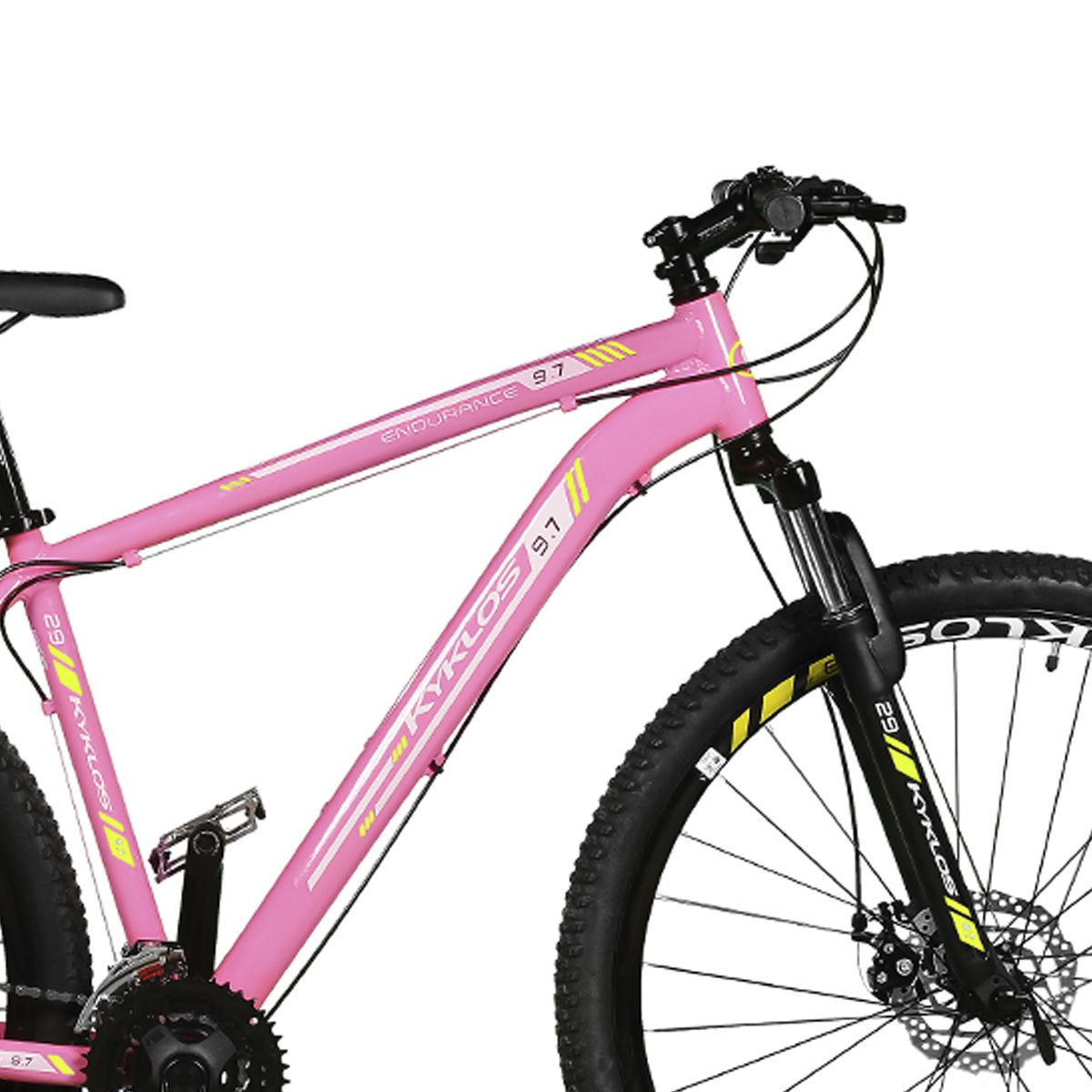 Bicicleta Kyklos Aro 29 Endurance 9.7 24V Freio a Disco com Suspensão A-36 Rosa/Amarelo