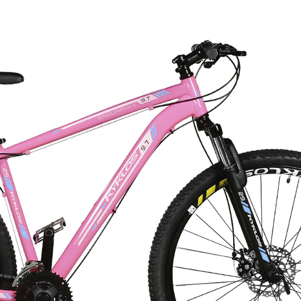 Bicicleta Kyklos Aro 29 Endurance 9.7 24V Freio a Disco com Suspensão A-36 Rosa/Azul