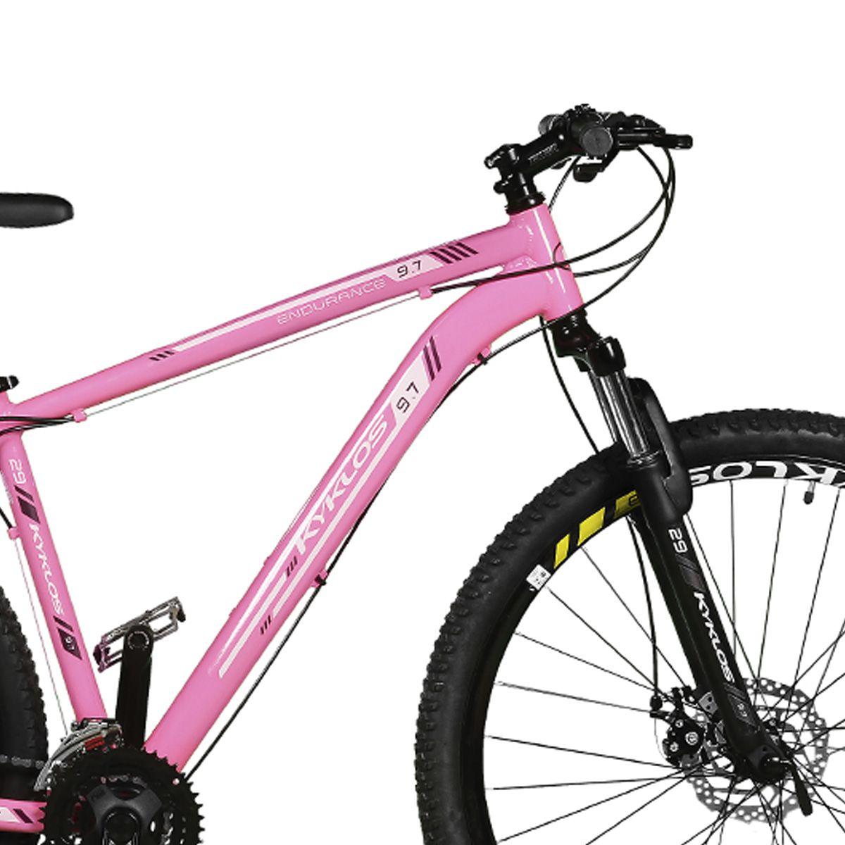 Bicicleta Kyklos Aro 29 Endurance 9.7 24V Freio a Disco com Suspensão A-36 Rosa/Preto