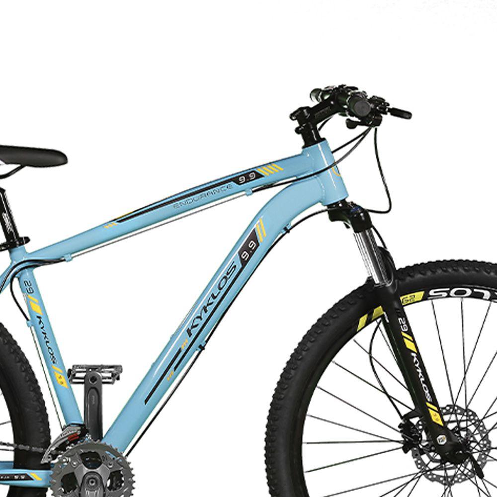 Bicicleta Kyklos Aro 29 Endurance 9.9 27 V. Freio Hidráulico Suspensão com Trava Azul/Amarelo