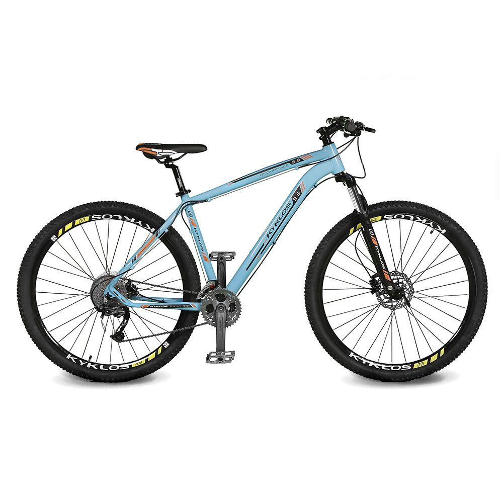Bicicleta Kyklos Aro 29 Endurance 9.9 27 V. Freio Hidráulico Suspensão com Trava Azul/Laranja