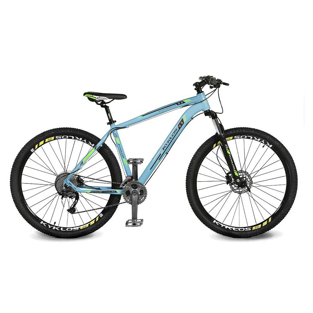 Bicicleta Kyklos Aro 29 Endurance 9.9 27 V. Freio Hidráulico Suspensão com Trava Azul/Verde