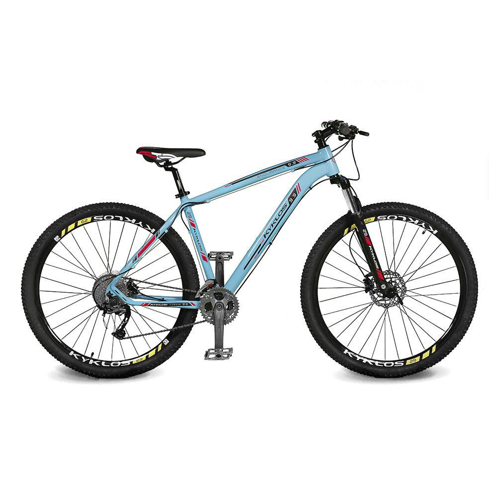Bicicleta Kyklos Aro 29 Endurance 9.9 27 V. Freio Hidráulico Suspensão com Trava Azul/Vermelho