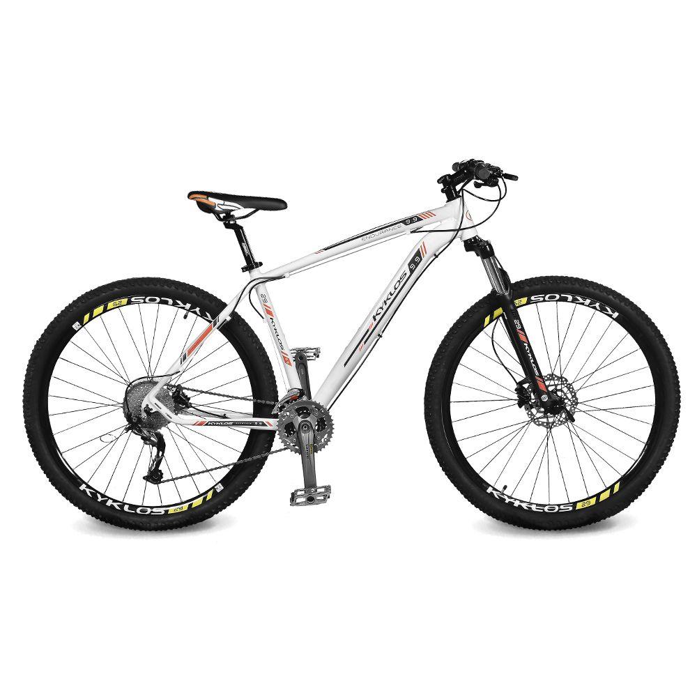 Bicicleta Kyklos Aro 29 Endurance 9.9 27 V. Freio Hidráulico Suspensão com Trava Branco/Laranja