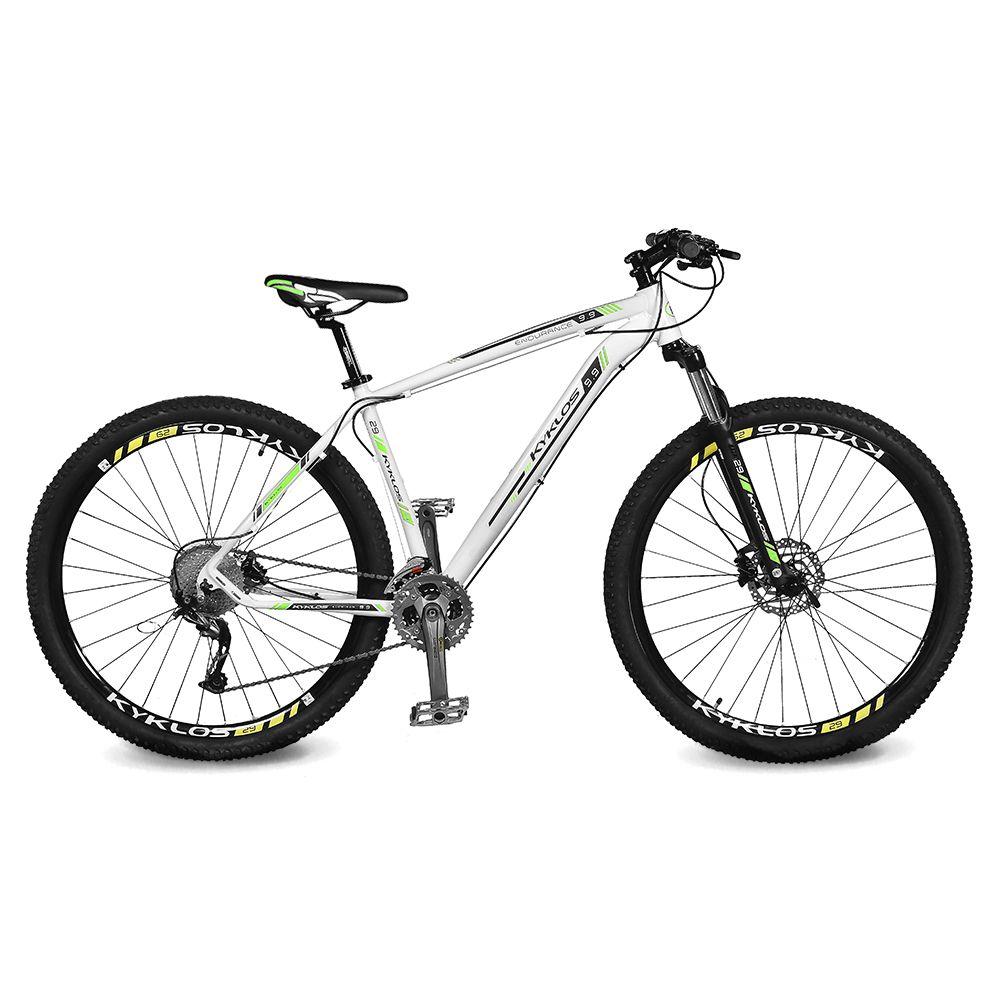 Bicicleta Kyklos Aro 29 Endurance 9.9 27 V. Freio Hidráulico Suspensão com Trava Branco/Verde