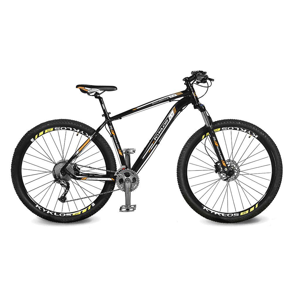 Bicicleta Kyklos Aro 29 Endurance 9.9 27 V. Freio Hidráulico Suspensão com Trava Preto/Laranja
