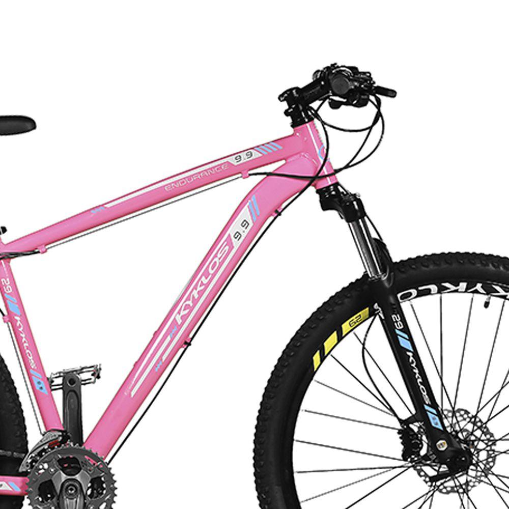 Bicicleta Kyklos Aro 29 Endurance 9.9 27 V. Freio Hidráulico Suspensão com Trava Rosa/Azul