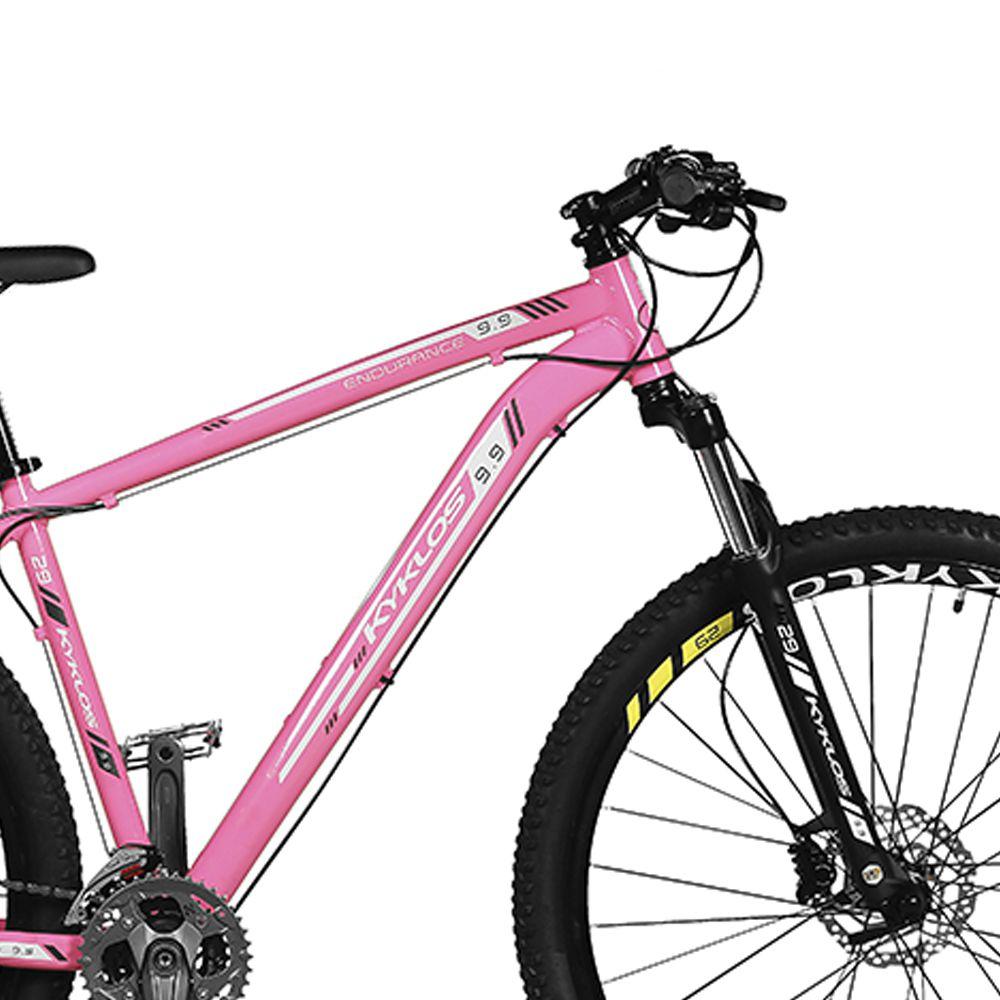 Bicicleta Kyklos Aro 29 Endurance 9.9 27 V. Freio Hidráulico Suspensão com Trava Rosa/Preto