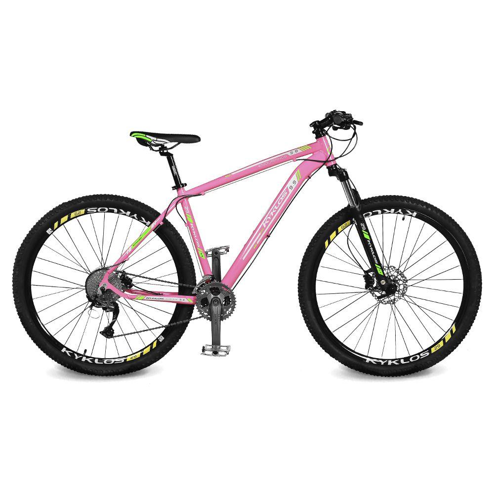 Bicicleta Kyklos Aro 29 Endurance 9.9 27 V. Freio Hidráulico Suspensão com Trava Rosa/Verde