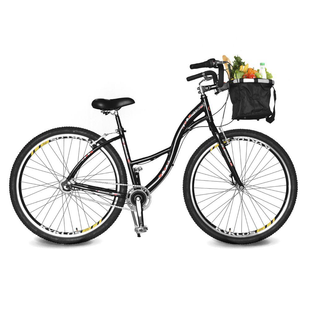 Bicicleta Kyklos Aro 29 Urbis 8.9 V-Brake 3V Nexus com Cesta Preto