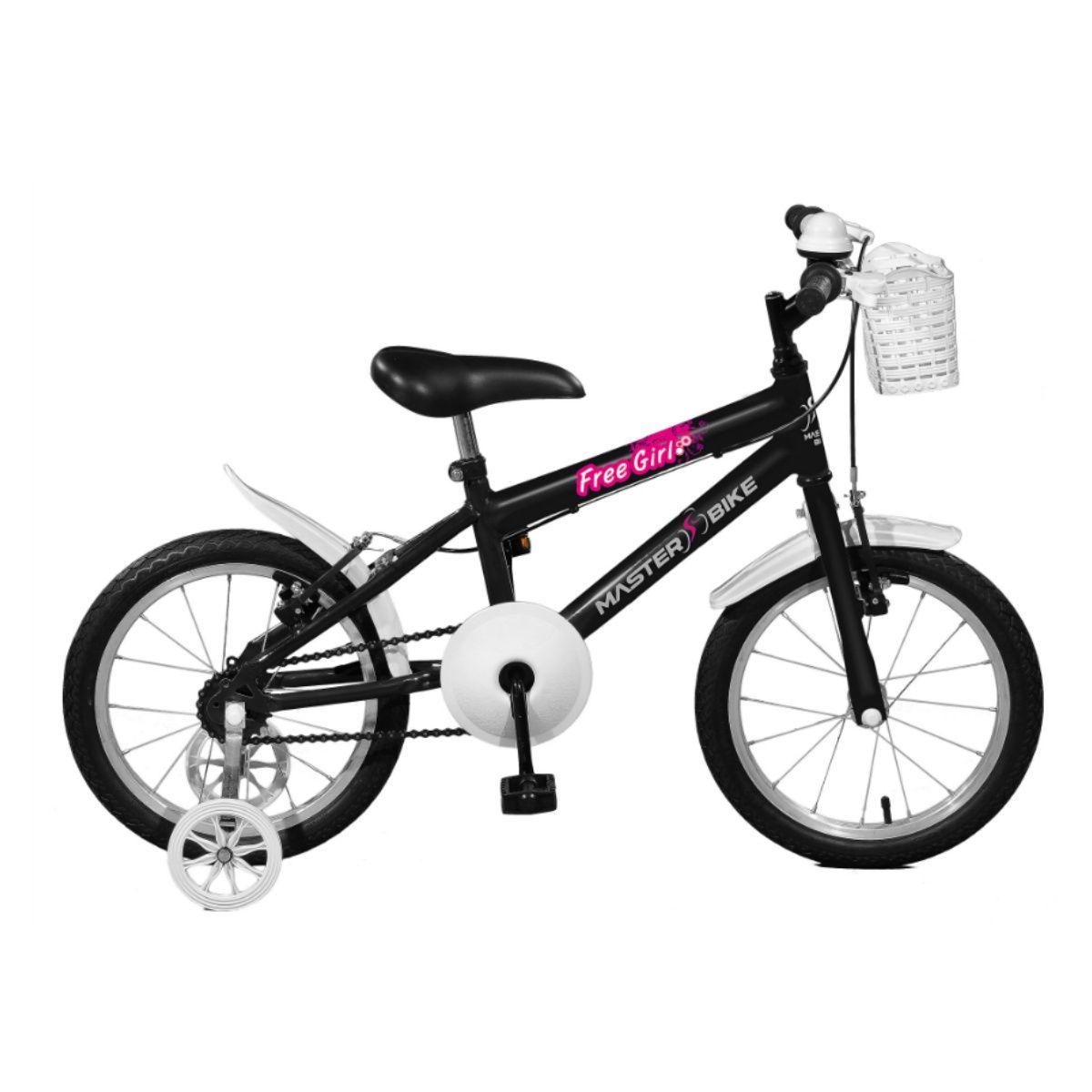 Bicicleta Master Bike Aro 16 Free Girl Freio V-Brake Preto