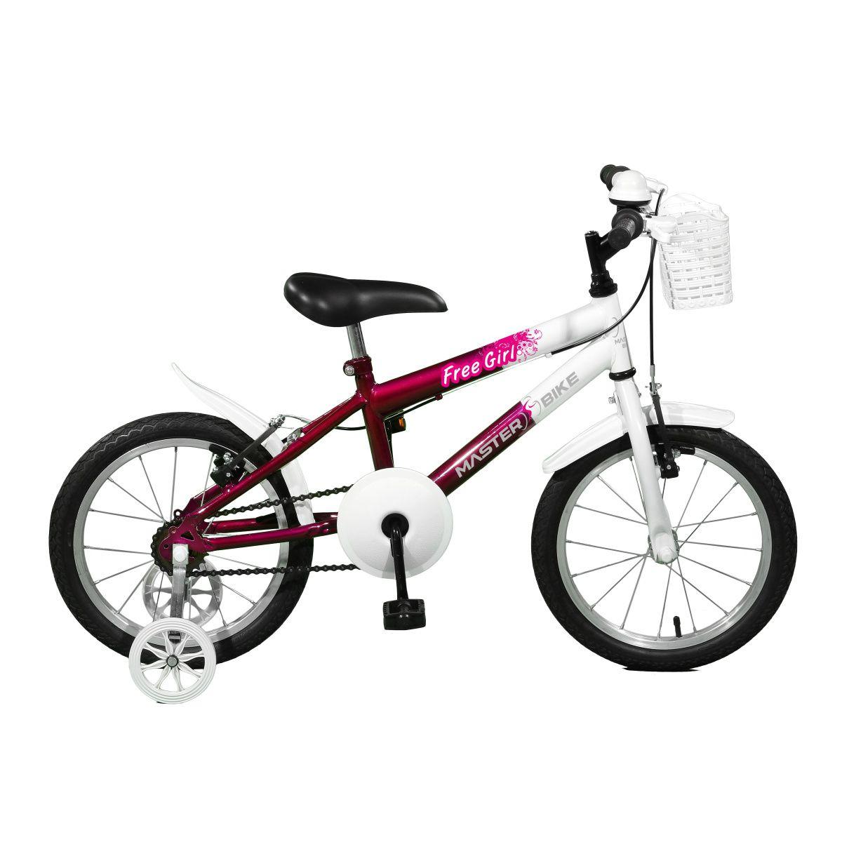 Bicicleta Master Bike Aro 16 Free Girl Freio V-Brake Violeta/Branco