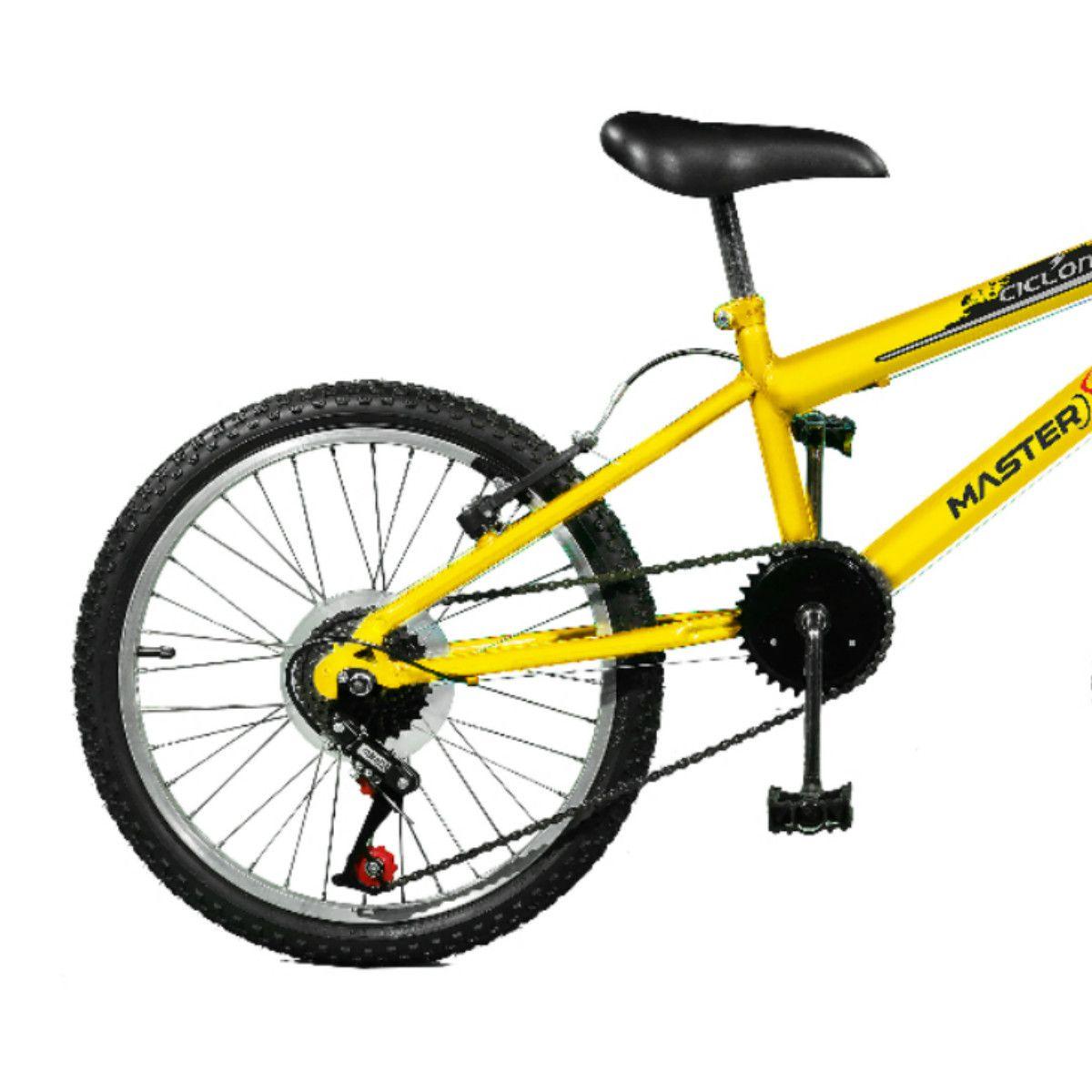 Bicicleta Master Bike Aro 20 Ciclone Plus 7 Marchas V-Brake Amarelo
