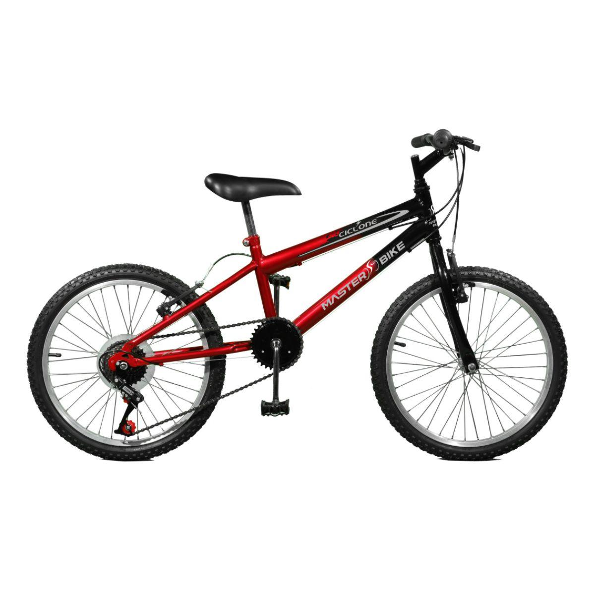 Bicicleta Master Bike Aro 20 Ciclone Plus 7 Marchas V-Brake Vermelho/Preto