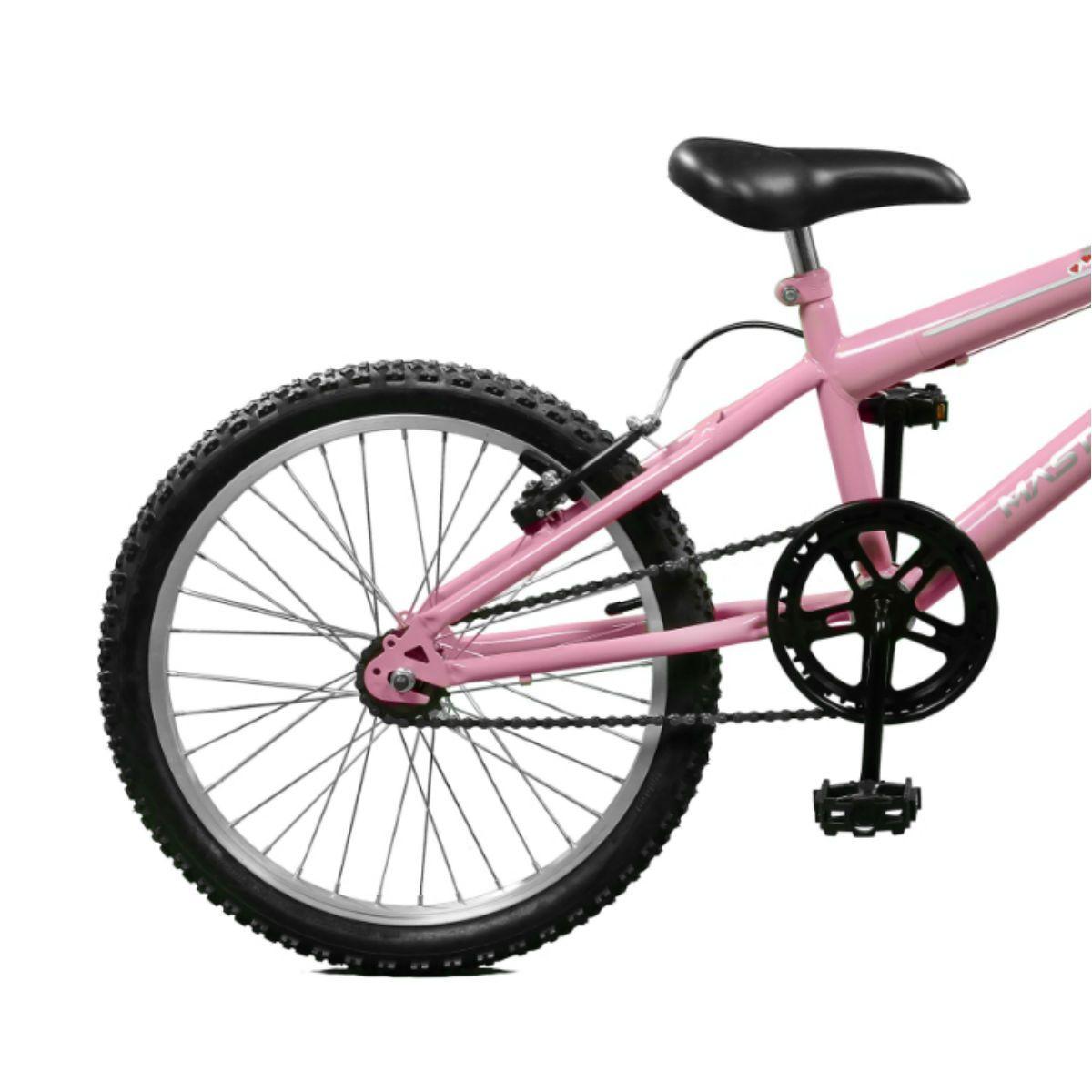 Bicicleta Master Bike Aro 20 Serena Freio V-Brake Rosa/Branco