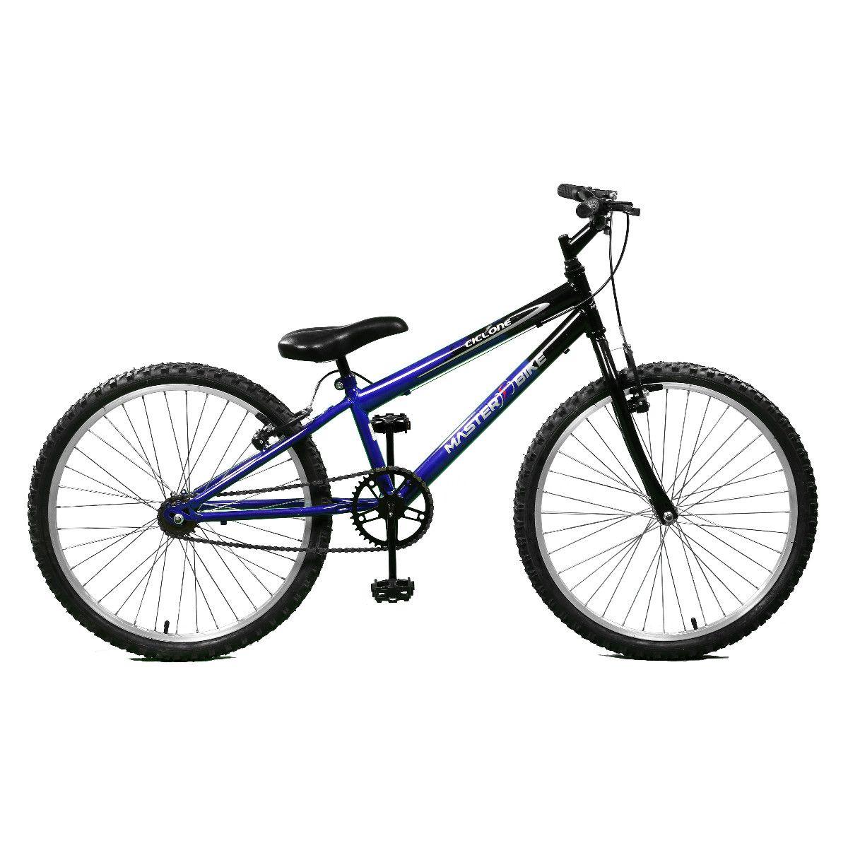 Bicicleta Master Bike Aro 24 Ciclone Freio V-Brake Azul/Preto