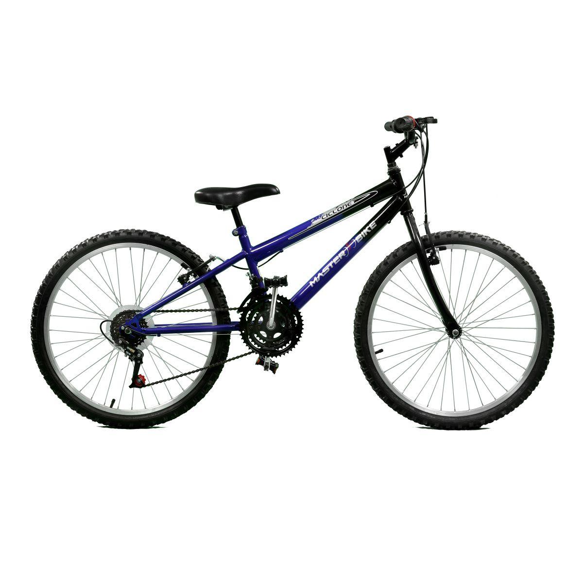Bicicleta Master Bike Aro 24 Ciclone Plus 21 Marchas V-Brake Azul/Preto