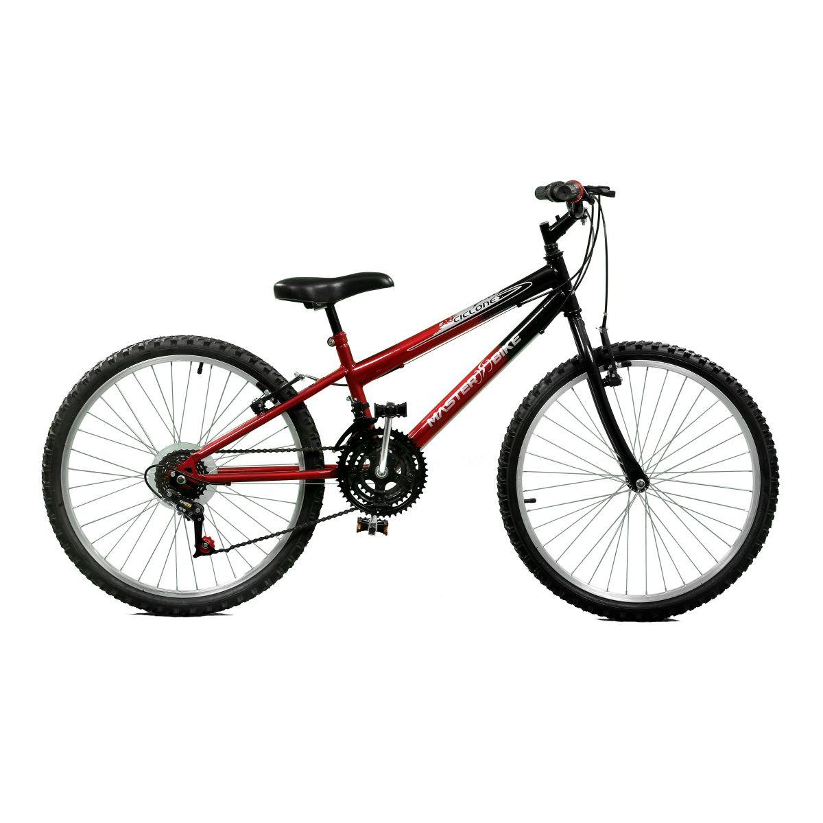 Bicicleta Master Bike Aro 24 Ciclone Plus 21 Marchas V-Brake Vermelho/Preto
