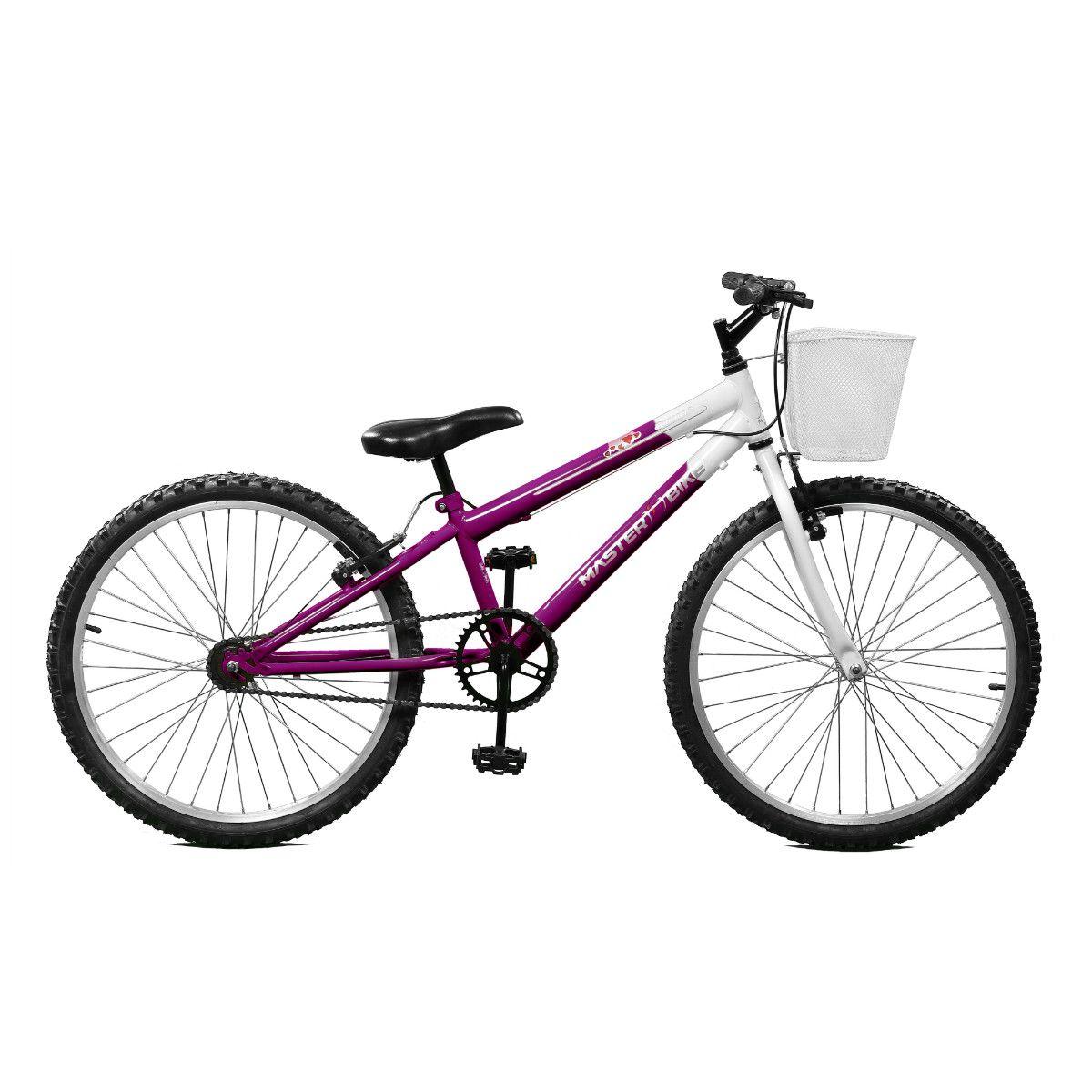 Bicicleta Master Bike Aro 24 Serena Freio V-Brake Violeta/Branco