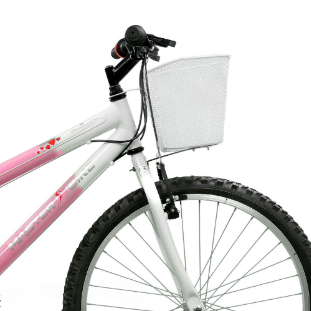 Bicicleta Master Bike Aro 24 Serena Plus 21 Marchas V-Brake Rosa/Branco