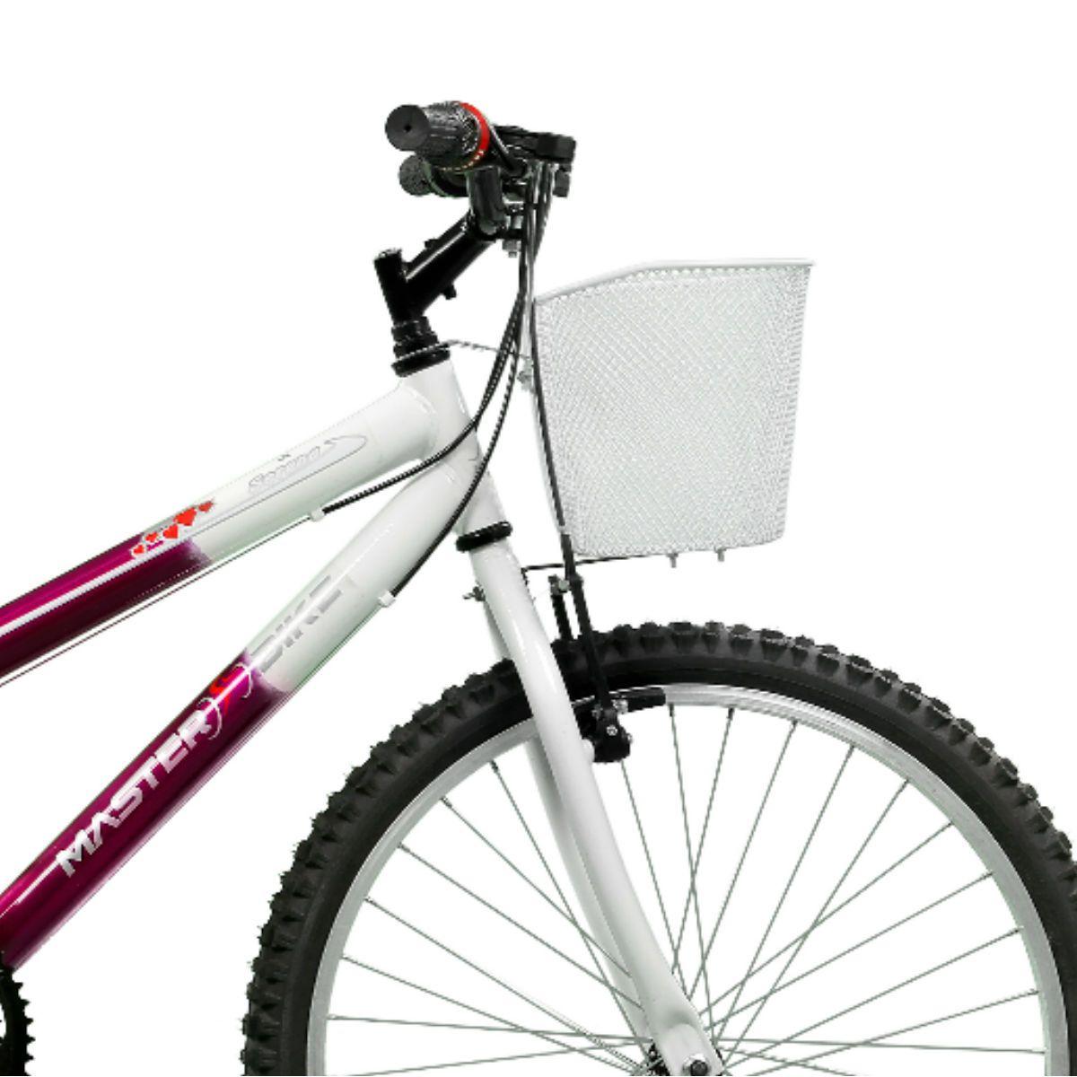Bicicleta Master Bike Aro 24 Serena Plus 21 Marchas V-Brake Violeta/Branco