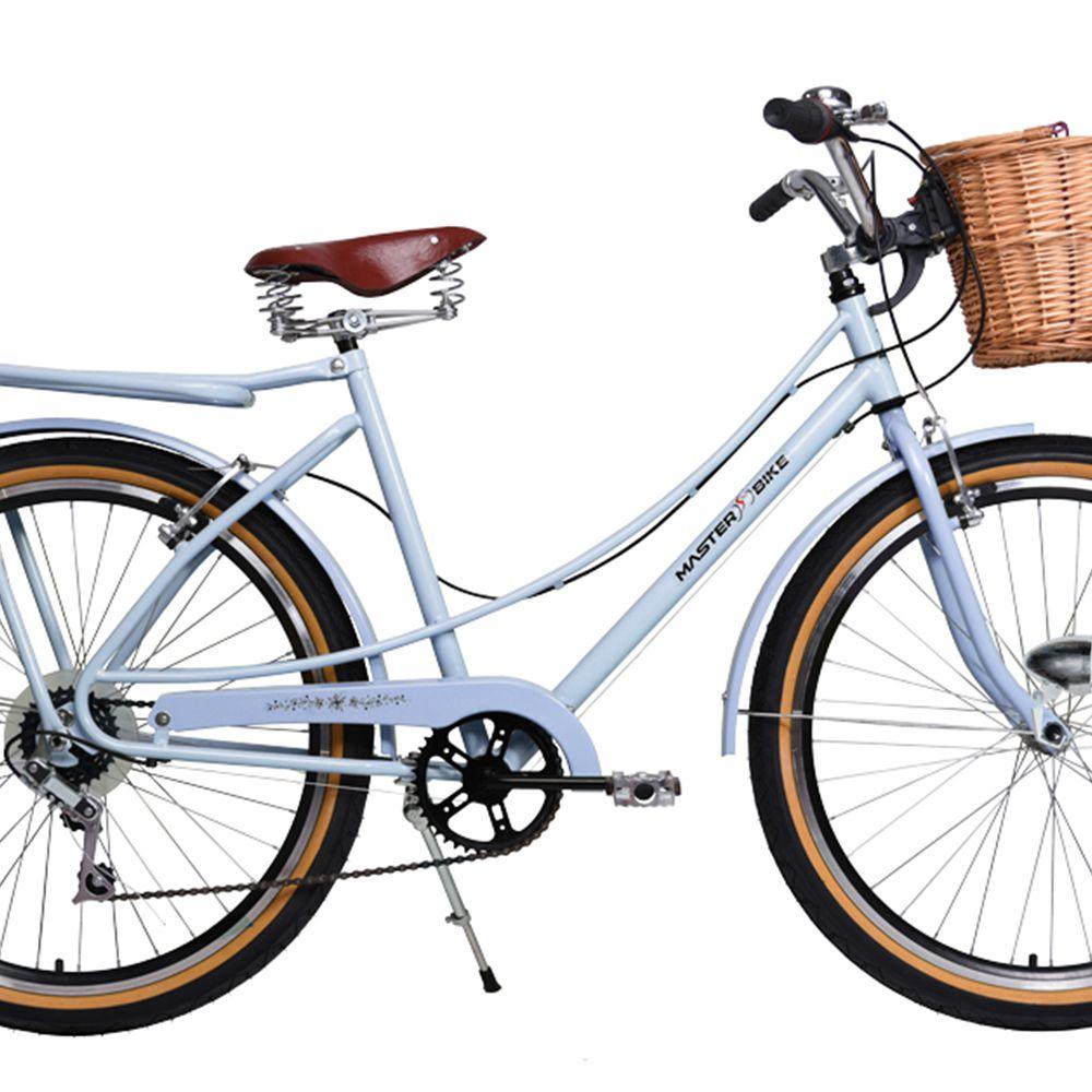 Bicicleta Master Bike Aro 26 Bella Retrô Freio V-Brake 6V Branco Azulado