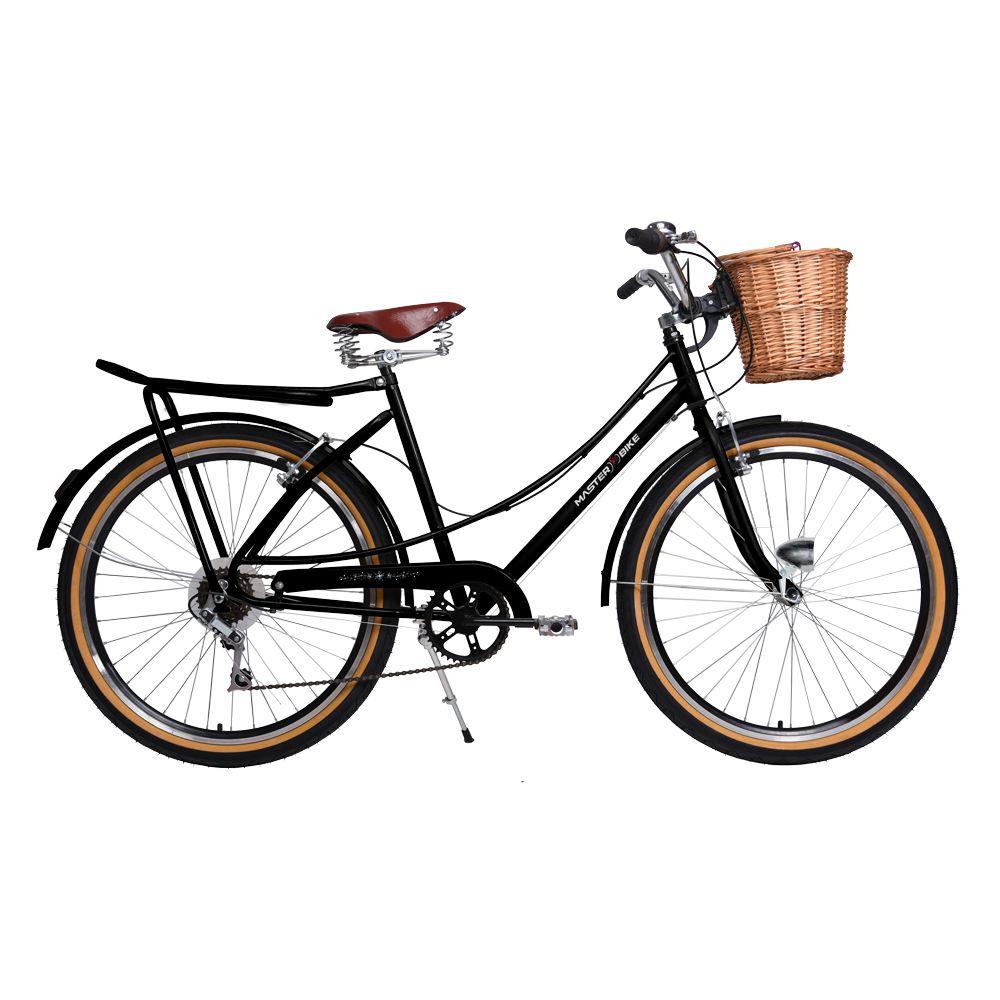 Bicicleta Master Bike Aro 26 Bella Retrô Freio V-Brake 6V Preto