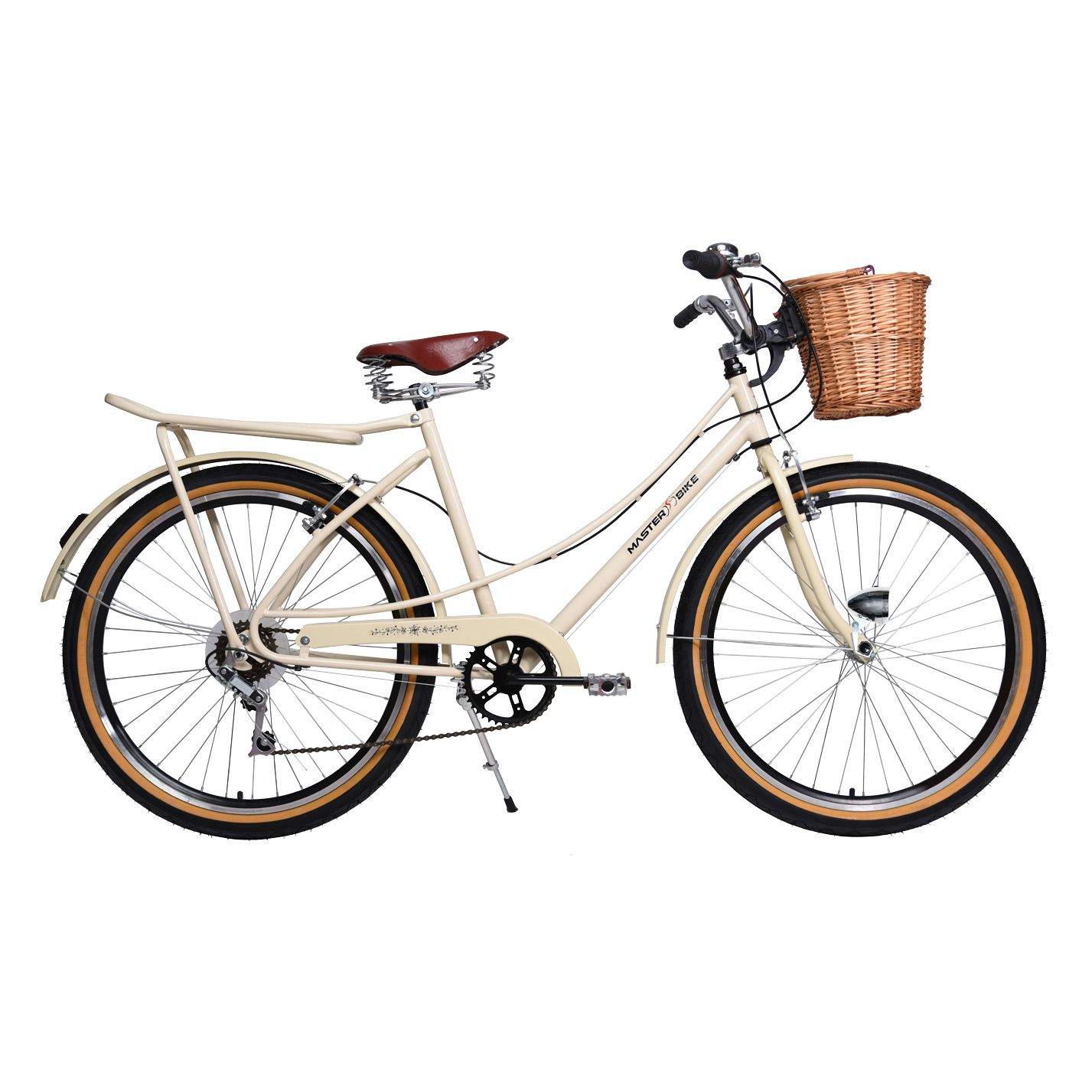 Bicicleta Master Bike Aro 26 Bella Retrô Freio V-Brake 6V Bege