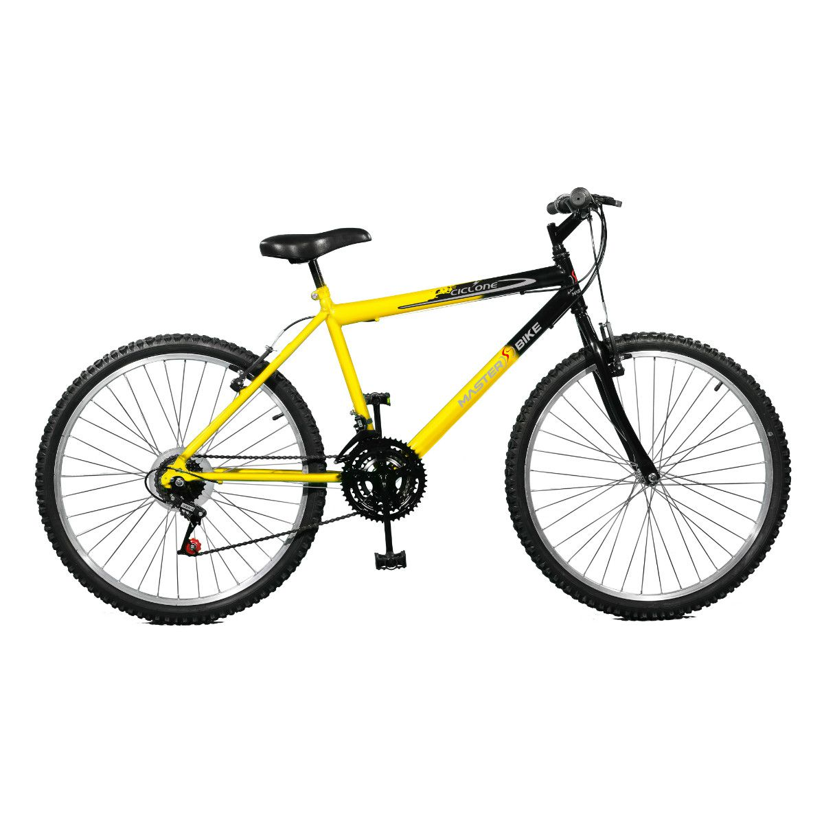 Bicicleta Master Bike Aro 26 Ciclone Plus 21 Marchas V-Brake Amarelo/Preto