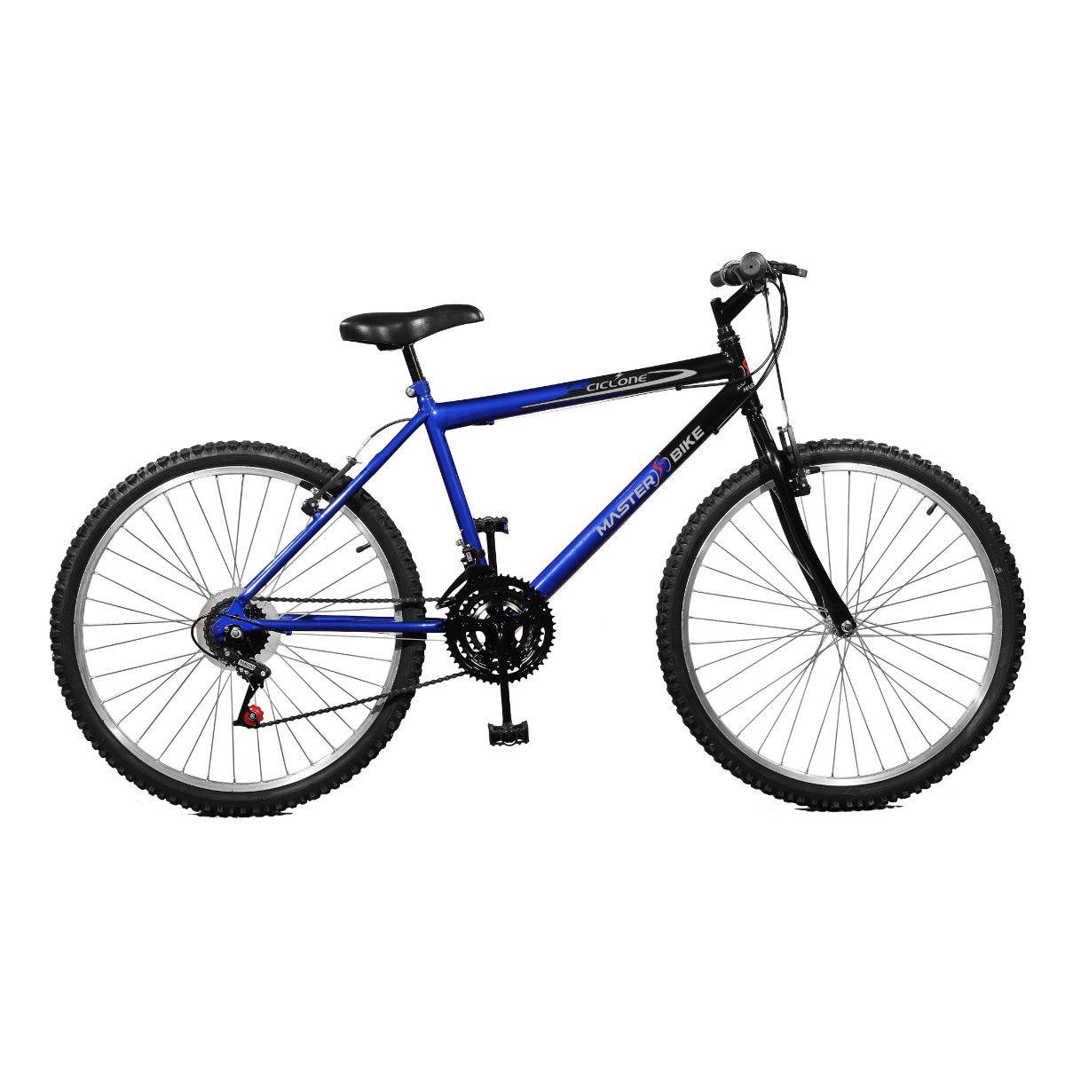 Bicicleta Master Bike Aro 26 Ciclone Plus 21 Marchas V-Brake Azul/Preto