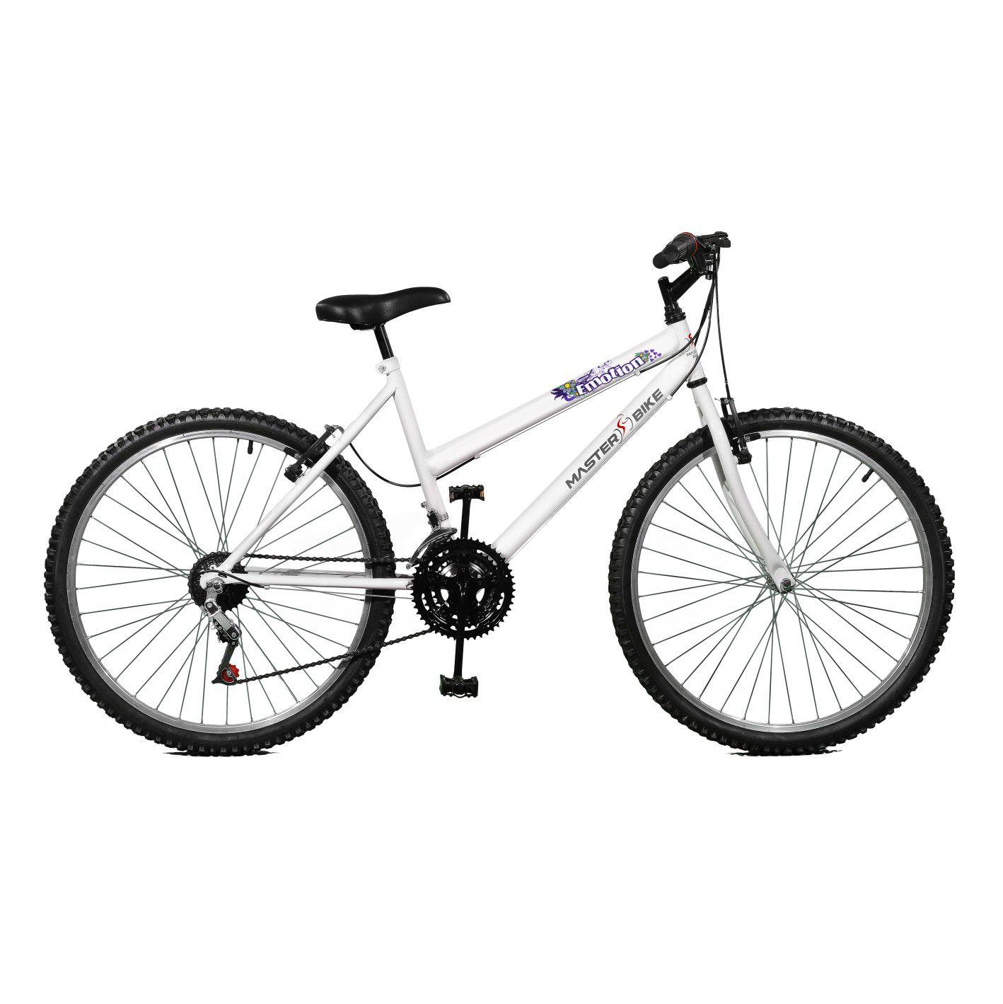 Bicicleta Master Bike Aro 26 Emotion 18 Marchas V-Brake Branco