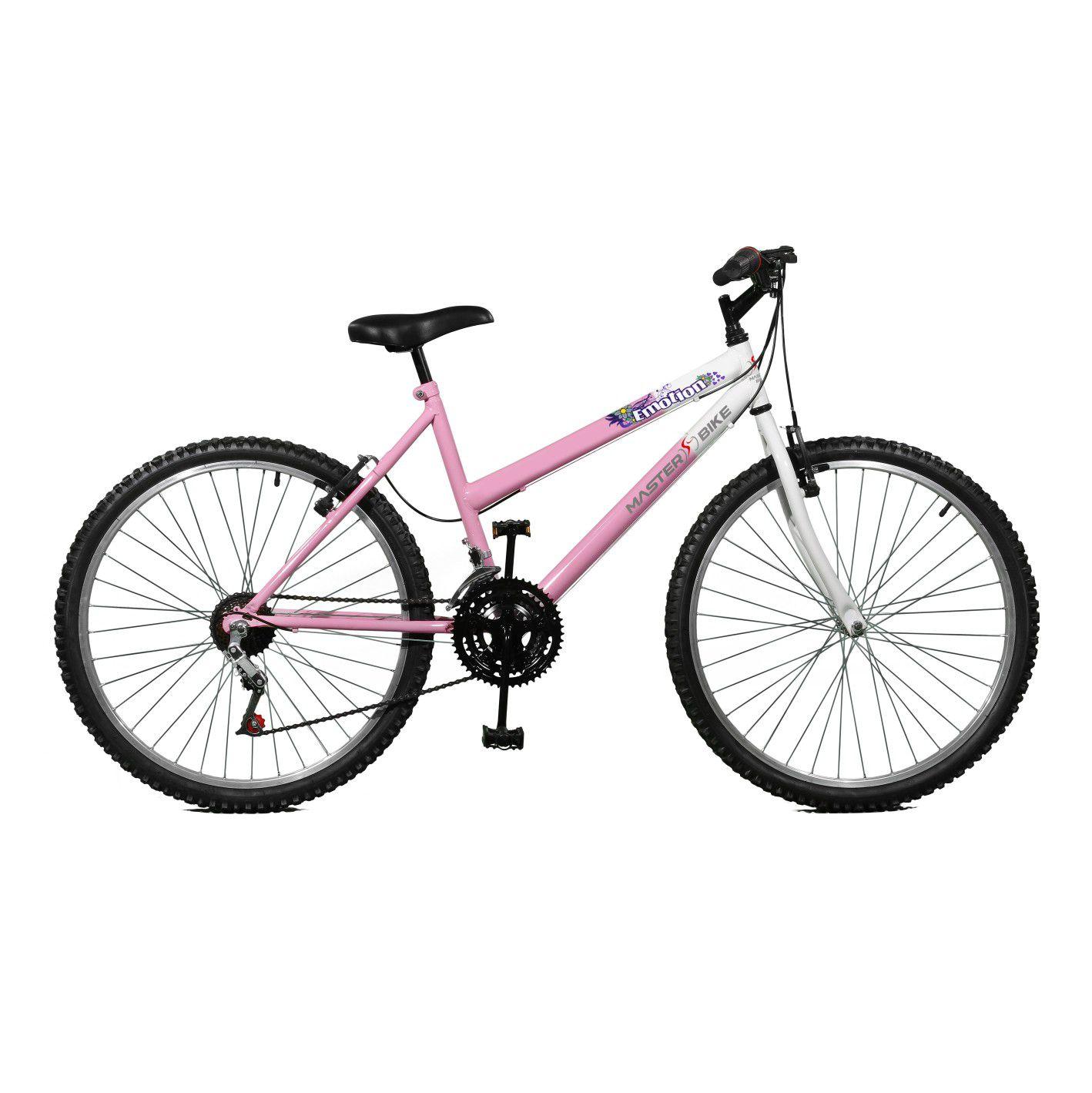 Bicicleta Master Bike Aro 26 Emotion 18 Marchas V-Brake Rosa/Branco