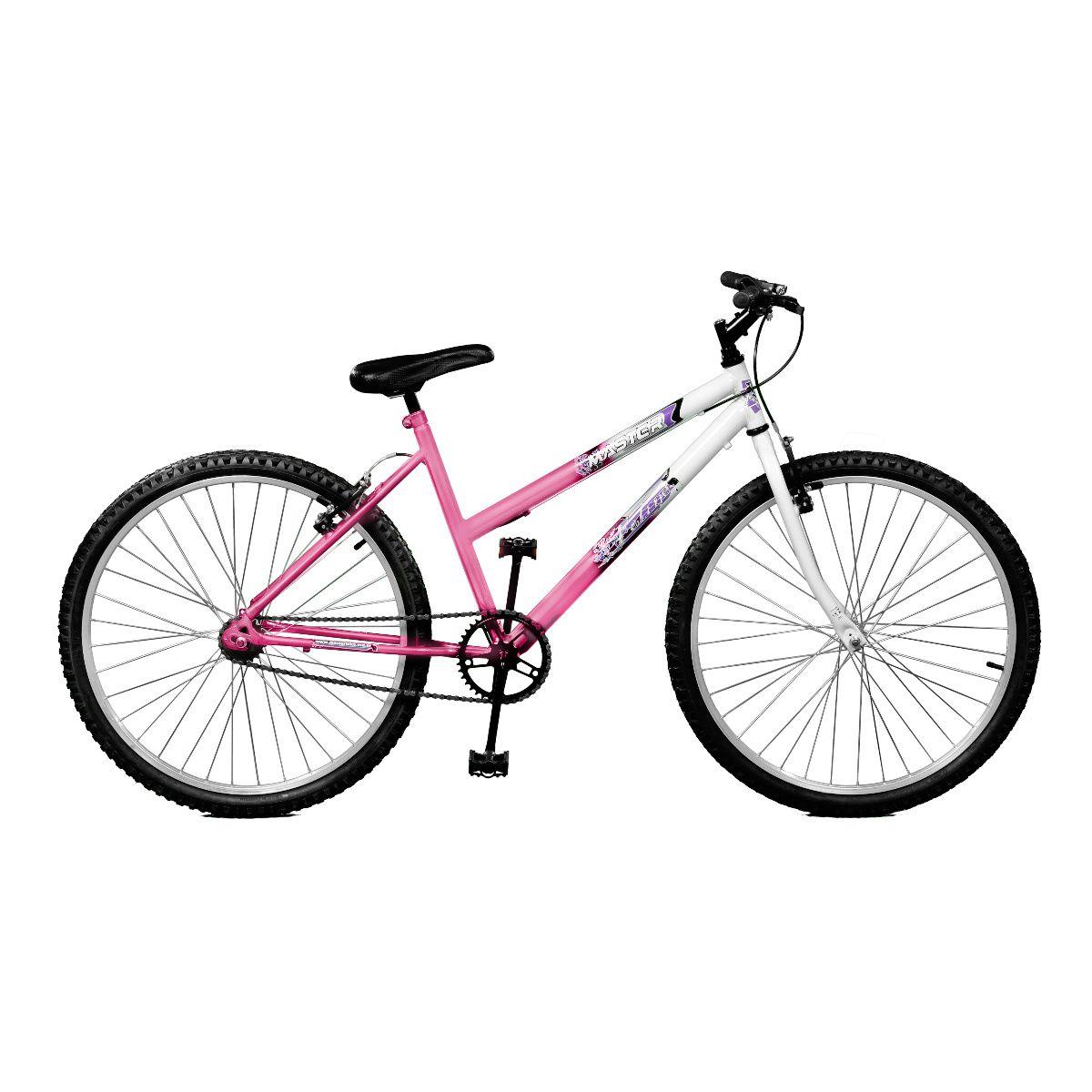 Bicicleta Master Bike Aro 26 Feline Freio V-Brake Rosa/Branco