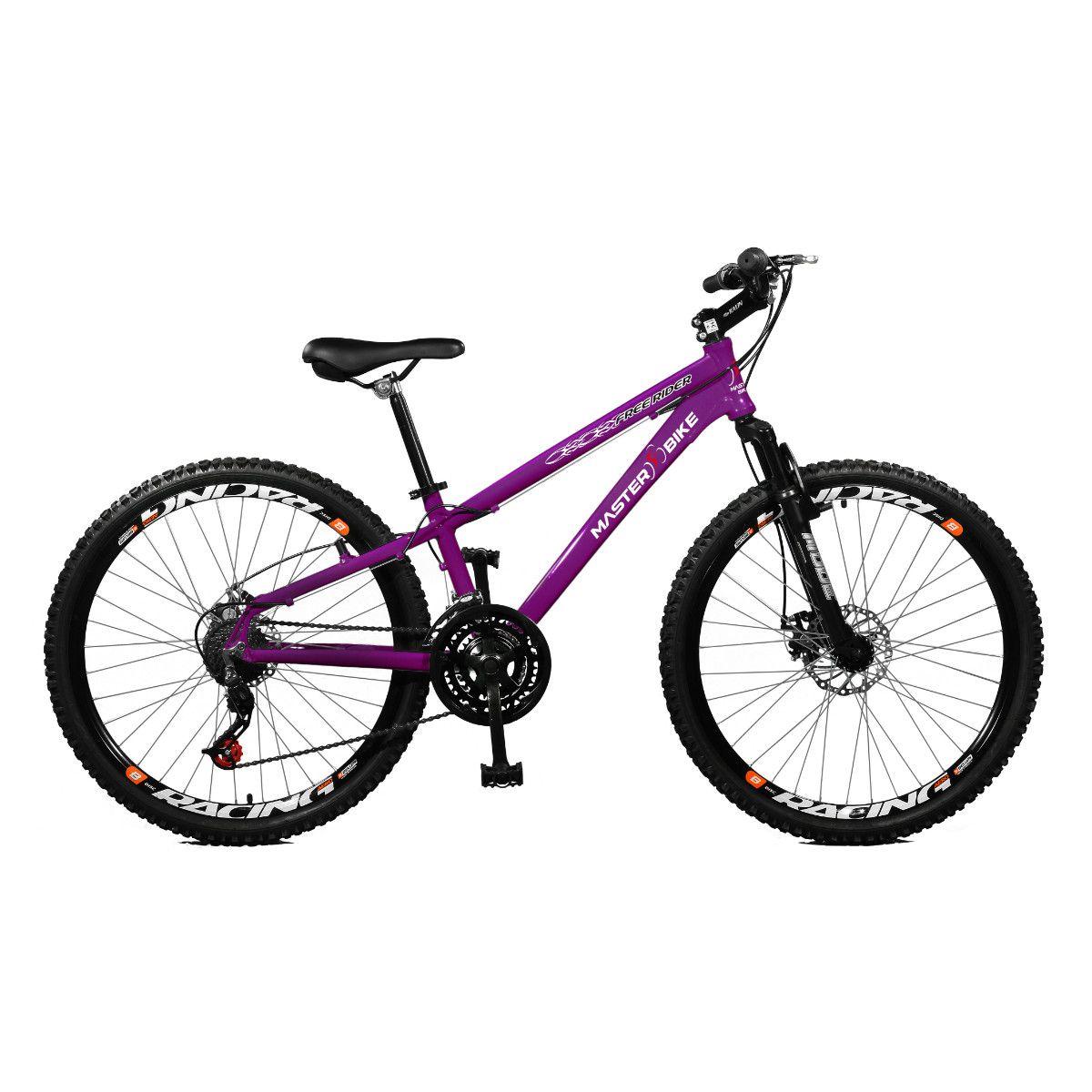 Bicicleta Master Bike Aro 26 Free Rider Freio à Disco A-36 21 V  Roxo Neon