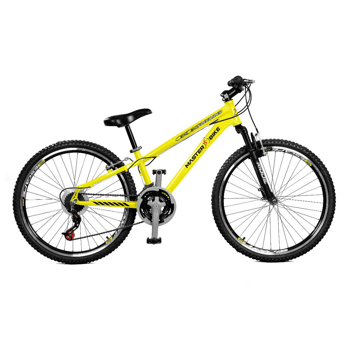 Bicicleta Master Bike Aro 26 Free Rider S A-36 21 Marchas Amarelo Neon